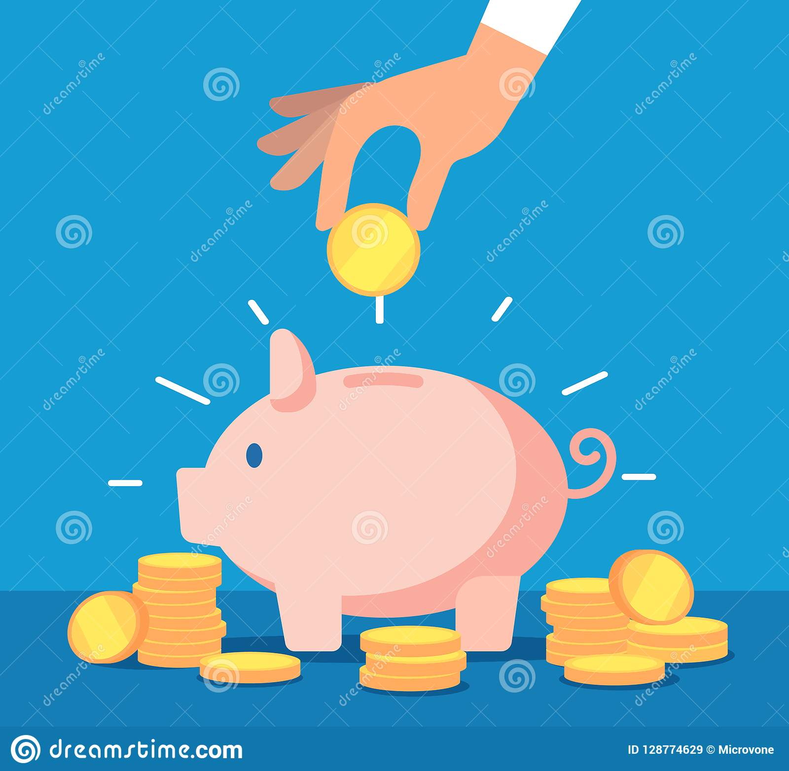 Piggy bank. Money box with falling gold coins. Deposit banking account and cash vector business concept