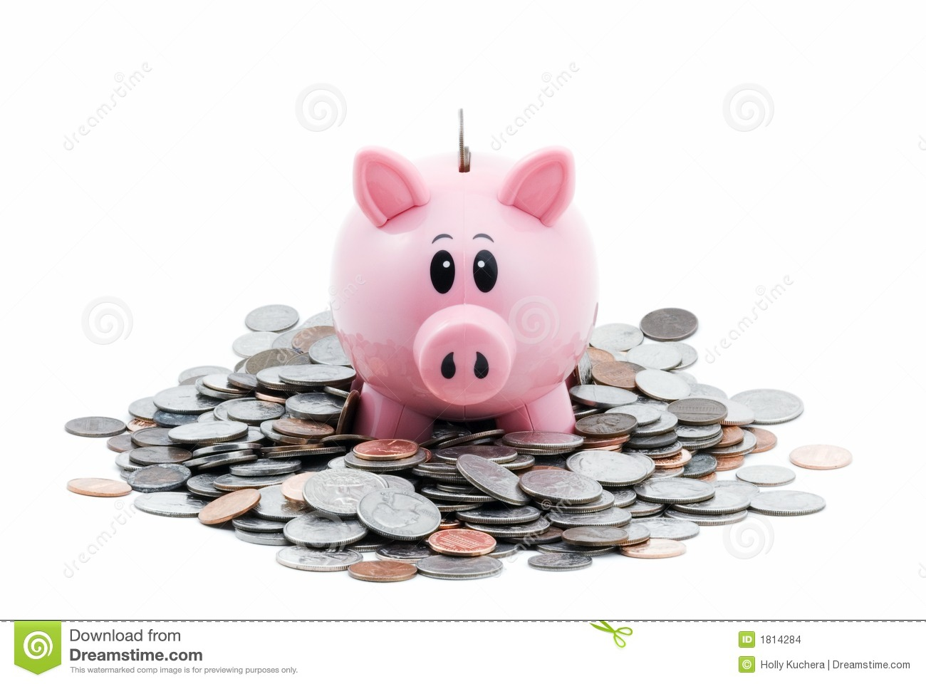 Piggy Bank In Pile Of Coins Stock Images - Image: 1814284