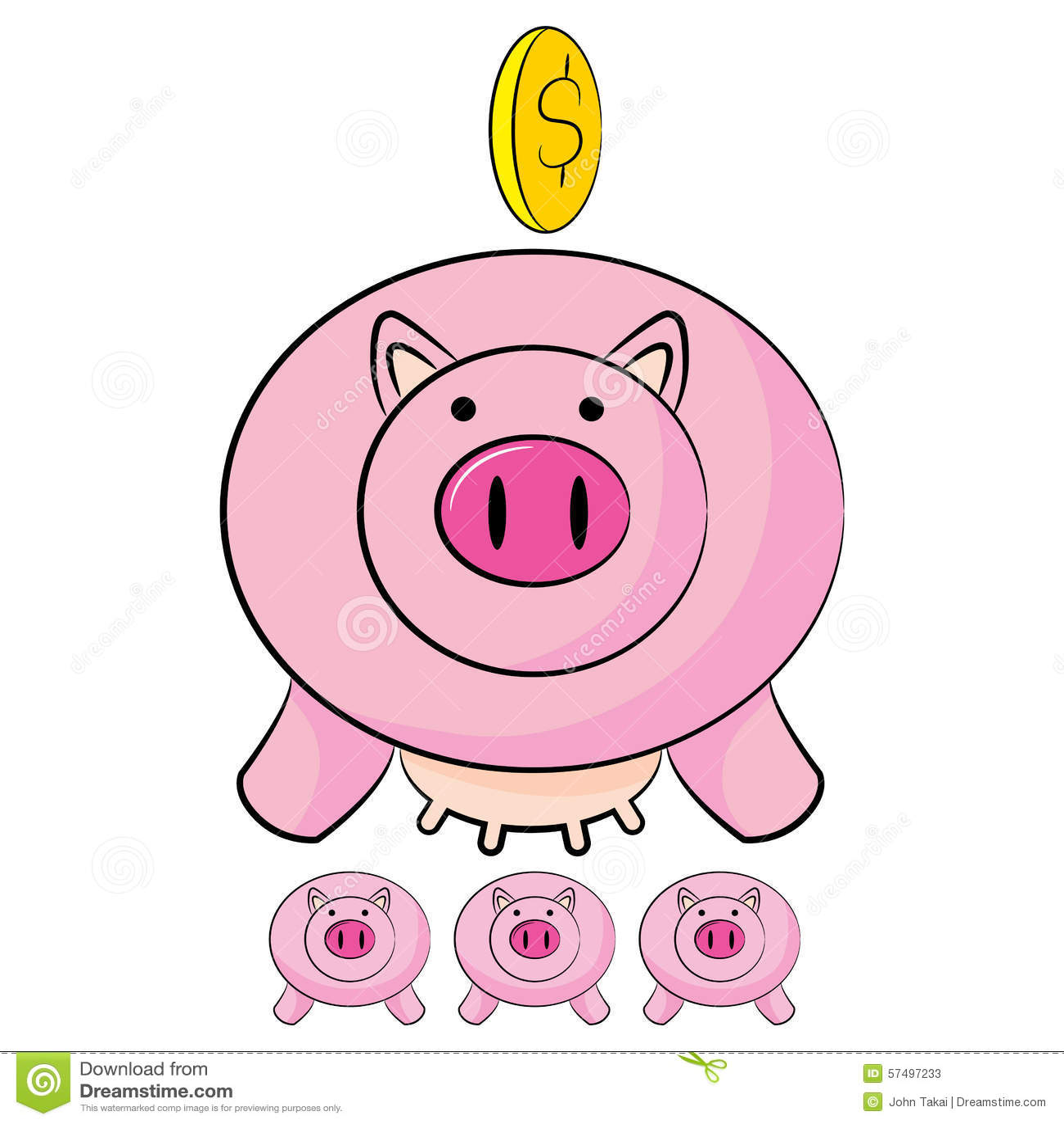 Piggy Bank Savings Cartoon Stock Vector