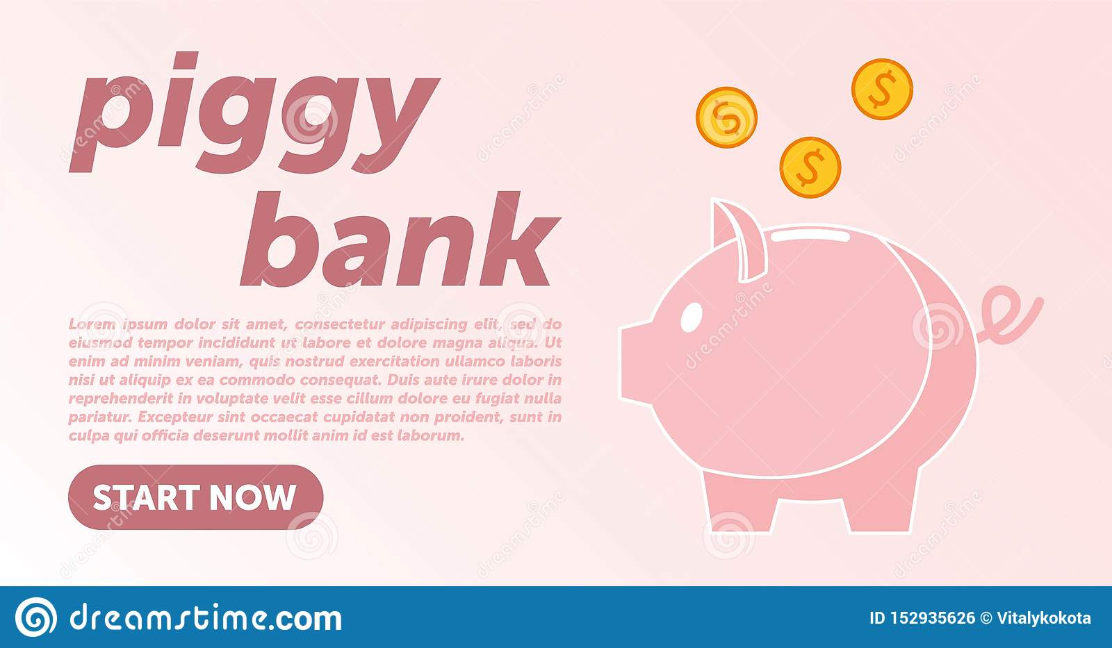 Piggy bank simple vector illustration in flat linework style. WEB PAGE TEMPLATE. DESIGN PIGGY BANK