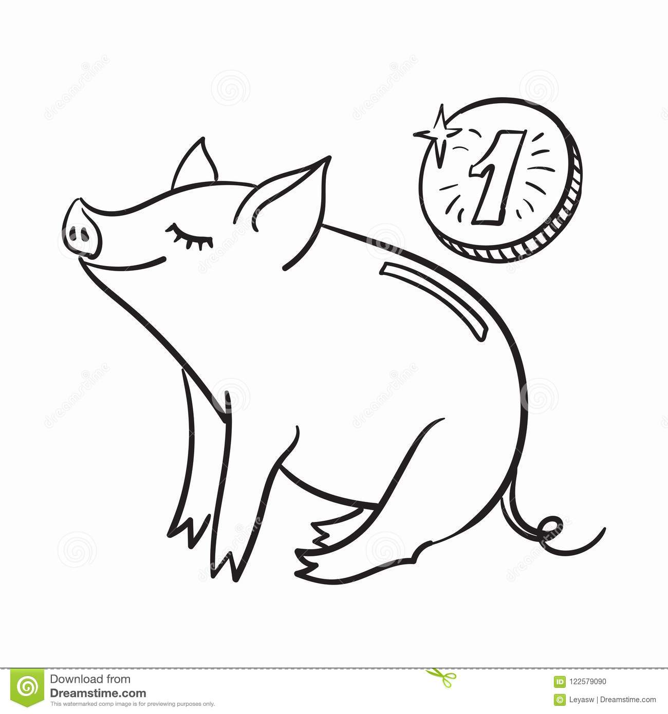 piggy bank template for greeting card black and white linear vector