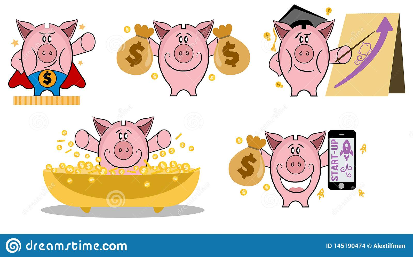 Piggy bank in various action. Set of piggy bank in different situations. Making money concept. Piggy bank vector icon set. Collect