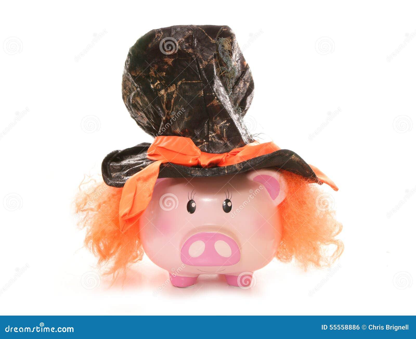 Piggy bank wearing mad hatter hat