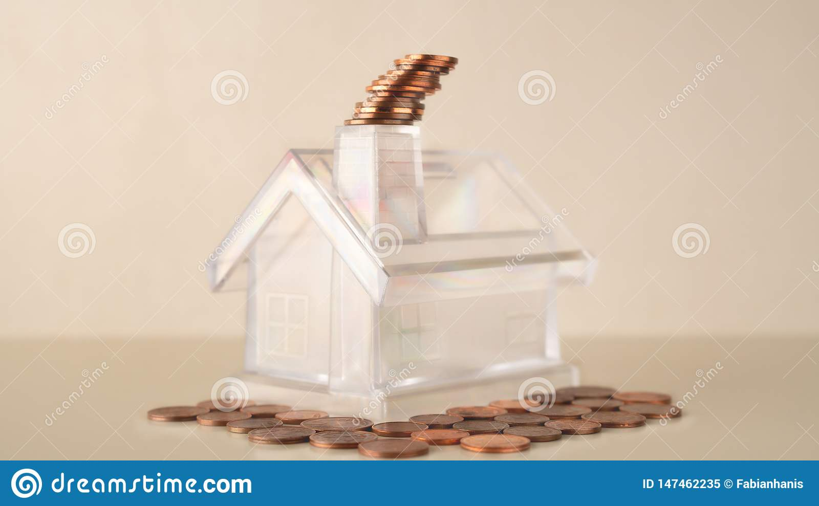 Piggy bank white transparent house with chimney, coins stack smoke, management business financial and investment, flat coins botto