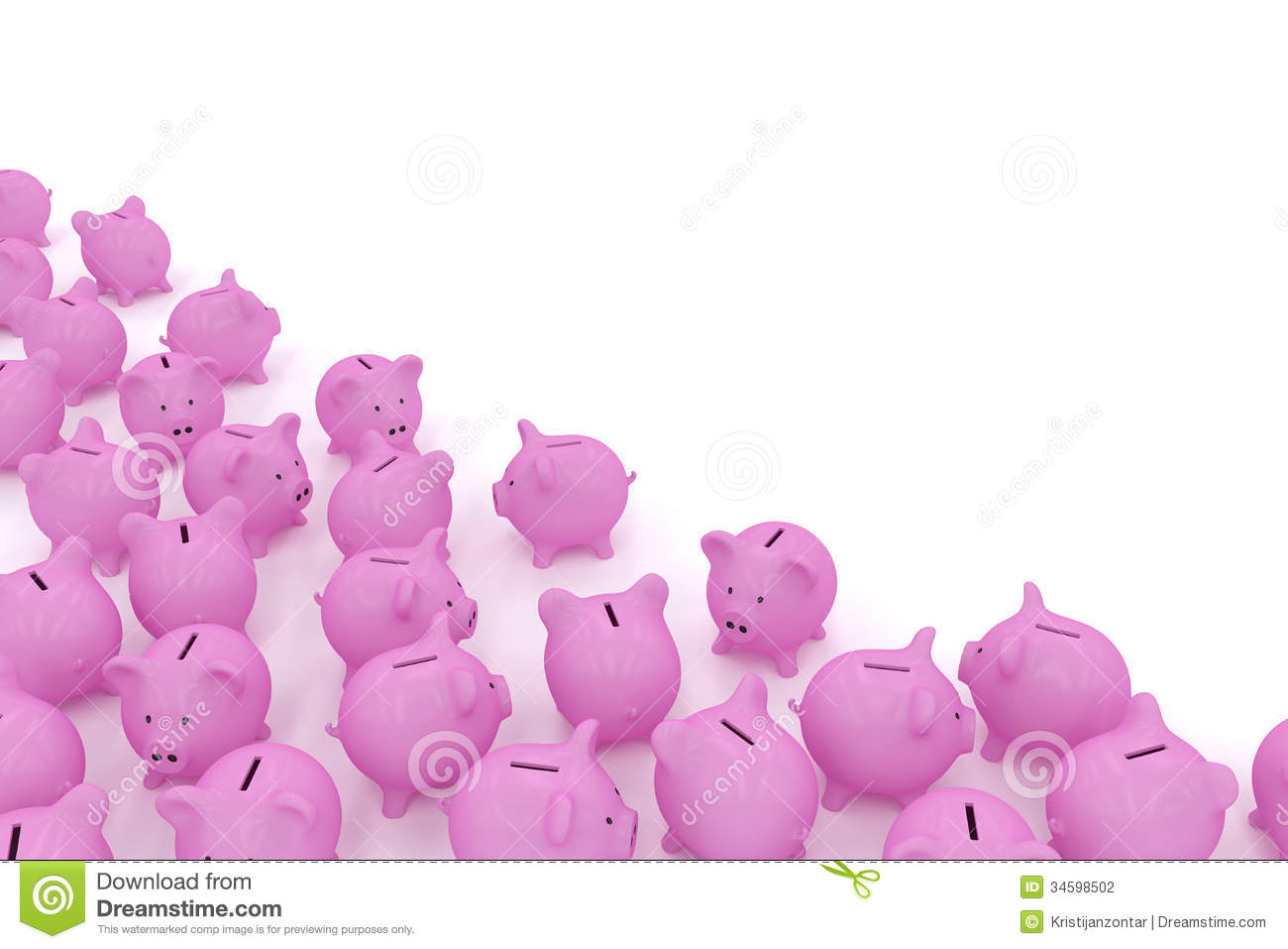 piggy banks in corner with copyspace stock photography