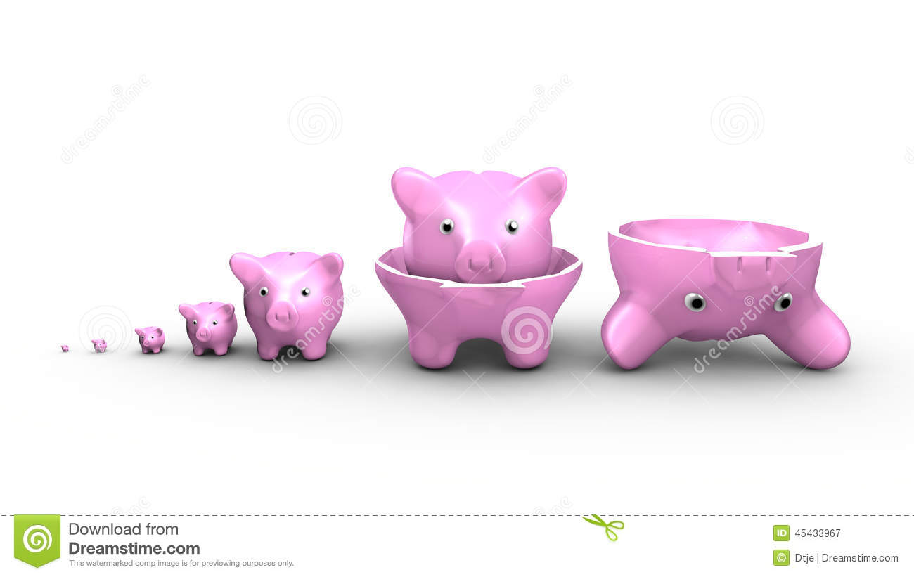 piggy banks replace the russian dolls saving money concept stock