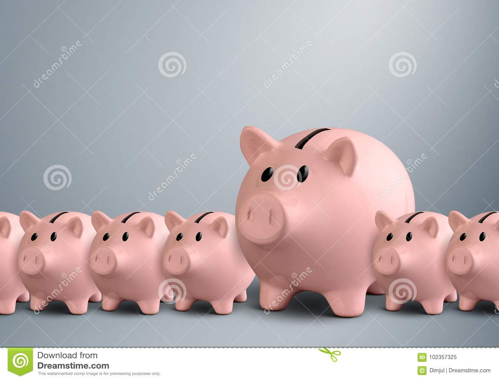 Piggy Banks In A Row Best Bank Concept Stock Illustration Illustration Of Deposit Invest 102357325
