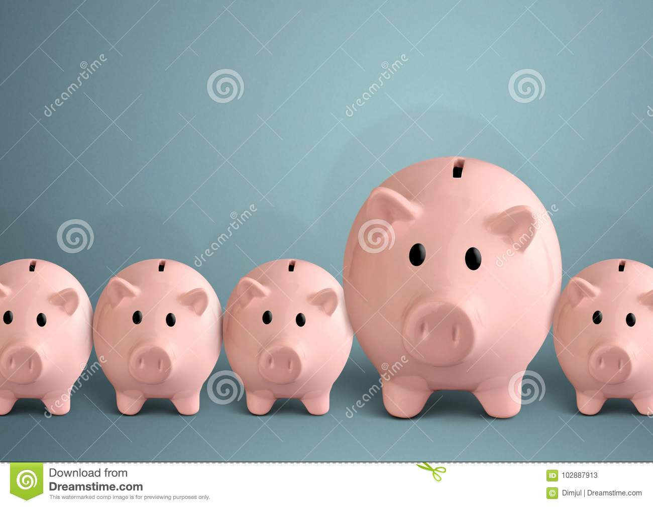 Piggy banks in a row, successful bank concept