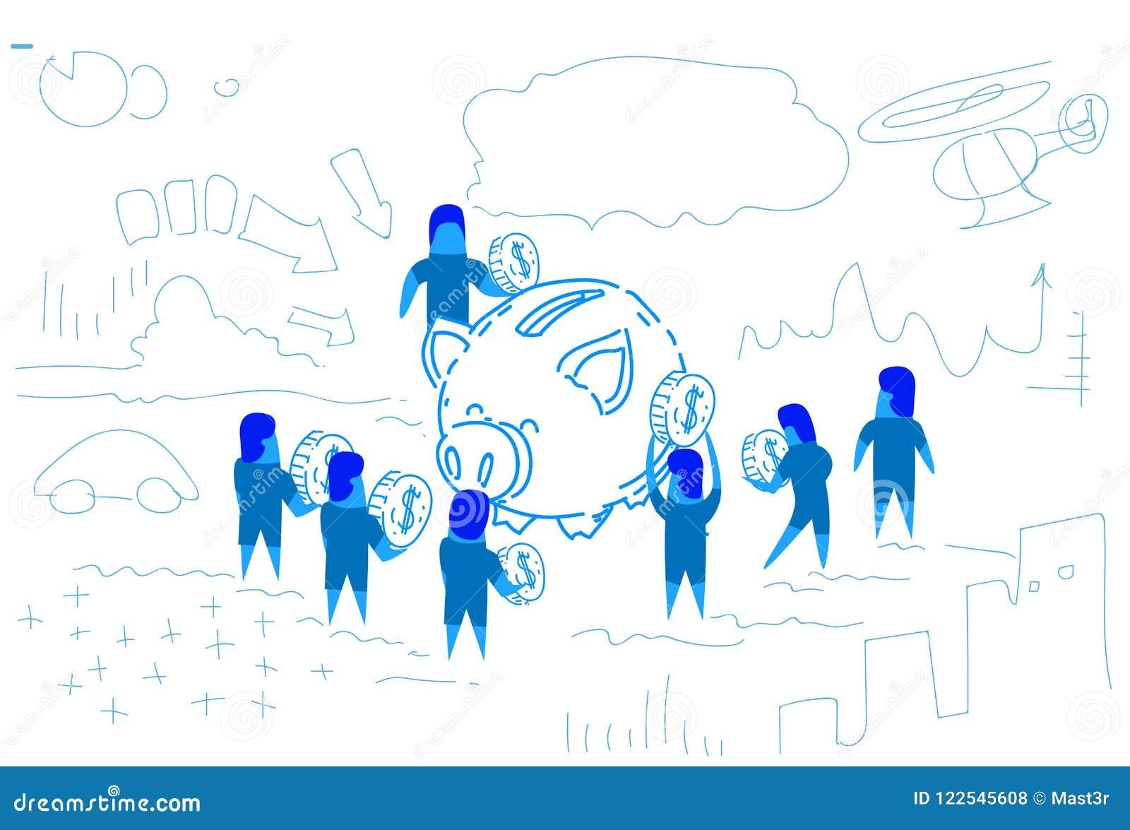 Piggy box businessman put dollar coin money growth wealth concept strategy people group brainstorming teamwork success