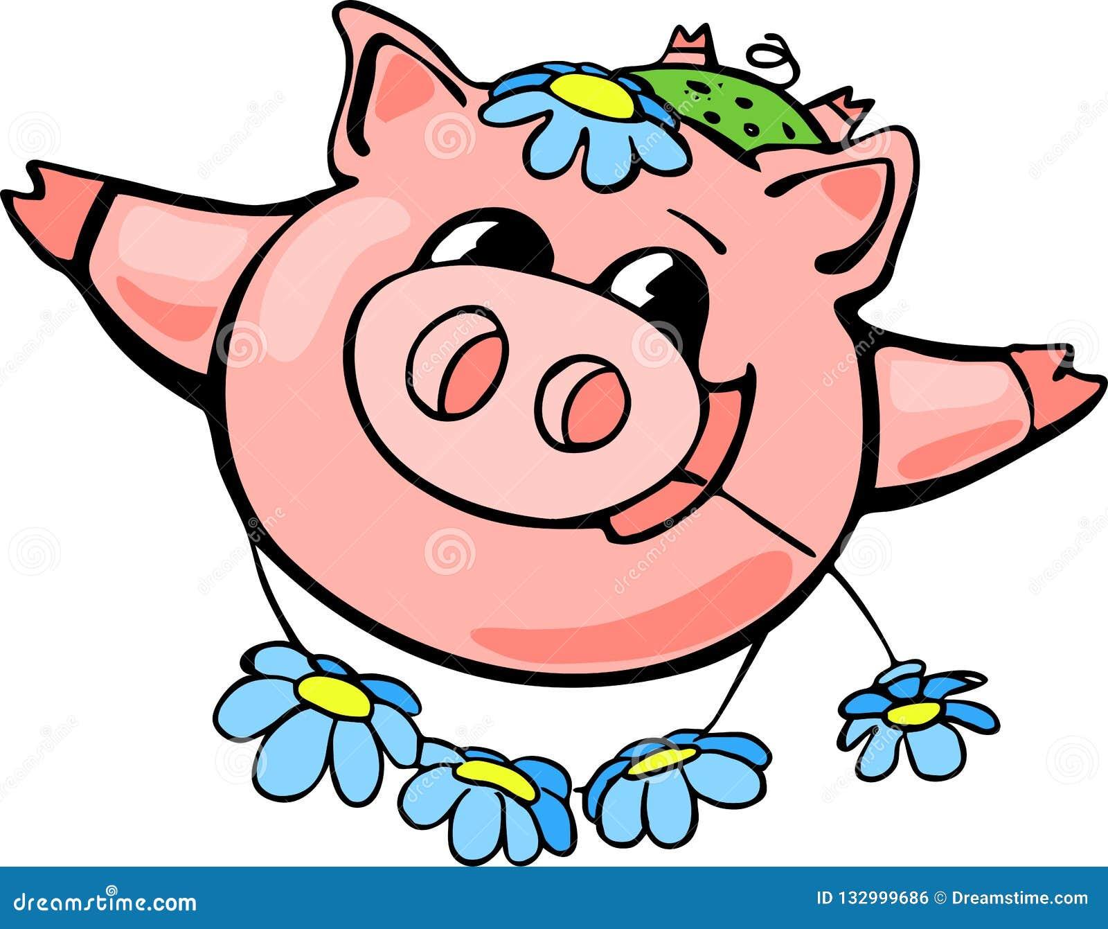 Piggy Chinees nieuw jaar, beeldverhaal, viering, ontwerp, pret, geluk