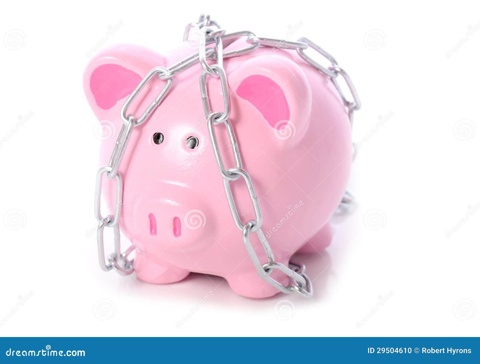 Piggy in kettingen