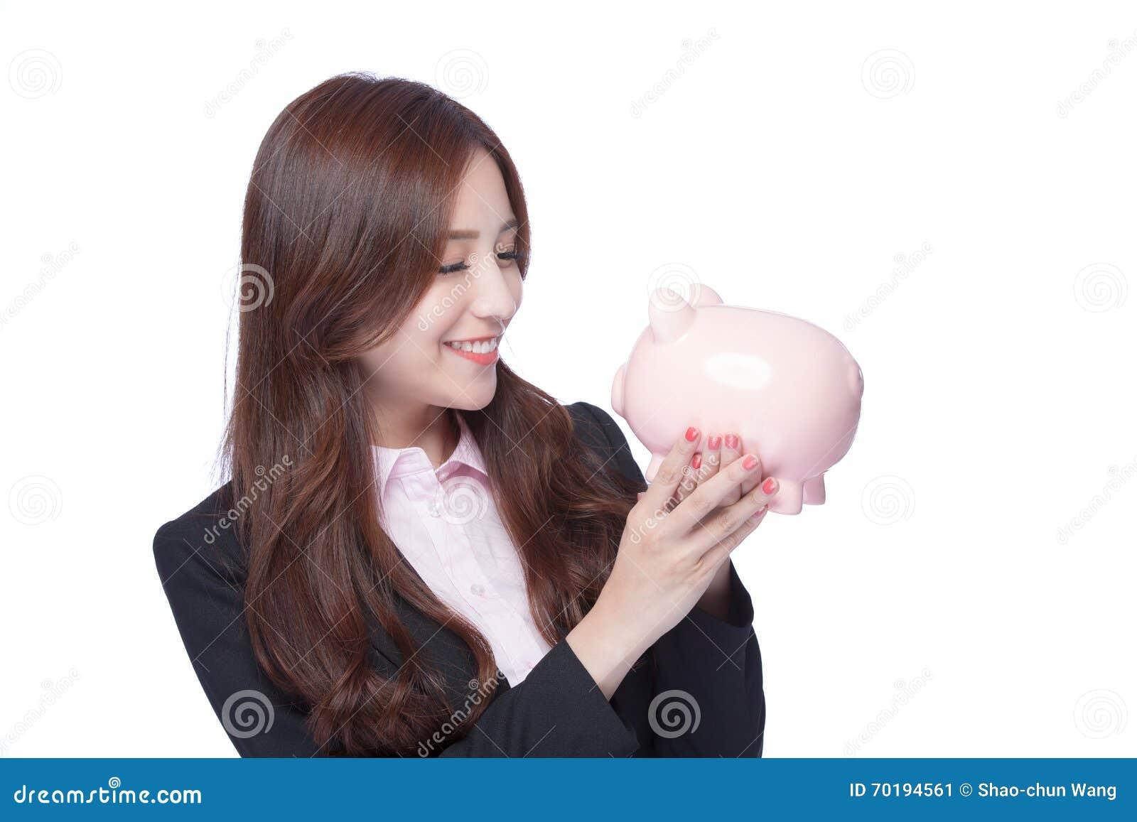 Piggy kvinna för gruppaffär