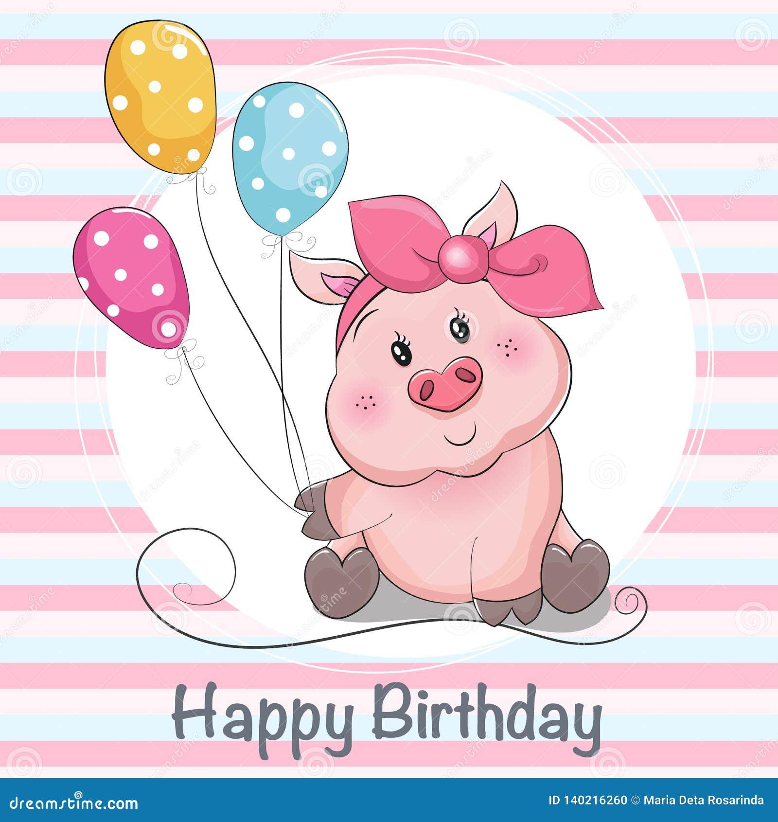 Piggy Mädchen der netten Karikatur der Grußkarte mit Ballons