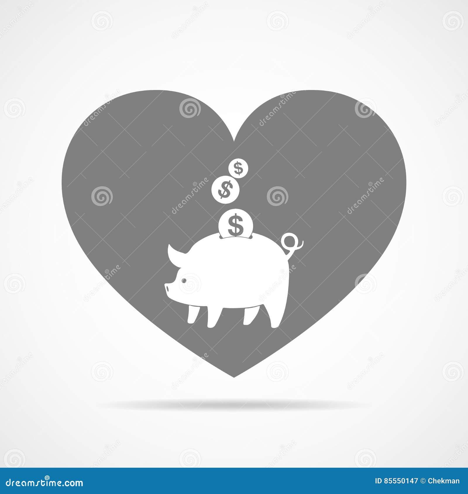 Piggy Querneigung mit fallenden Münzen Auch im corel abgehobenen Betrag