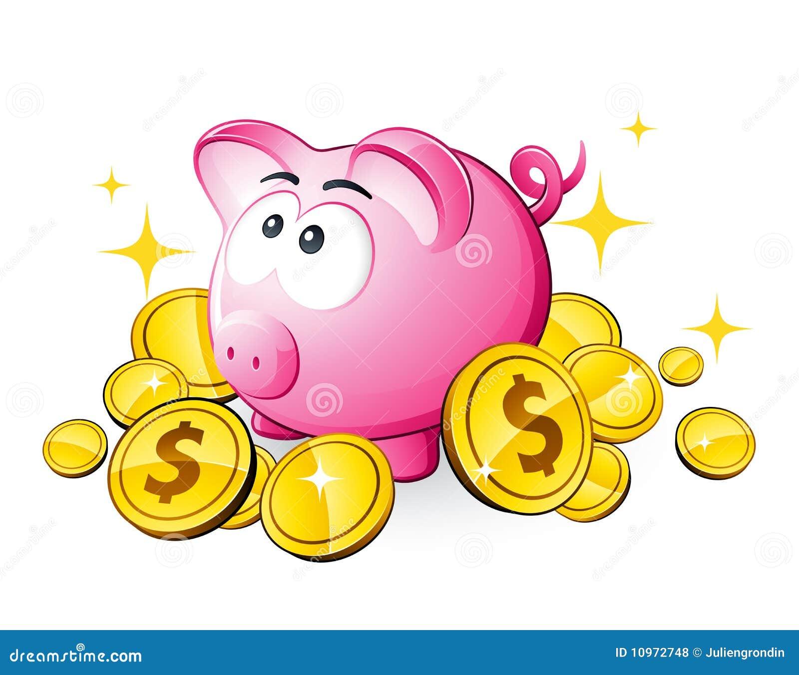 Piggy Querneigung und Dollar