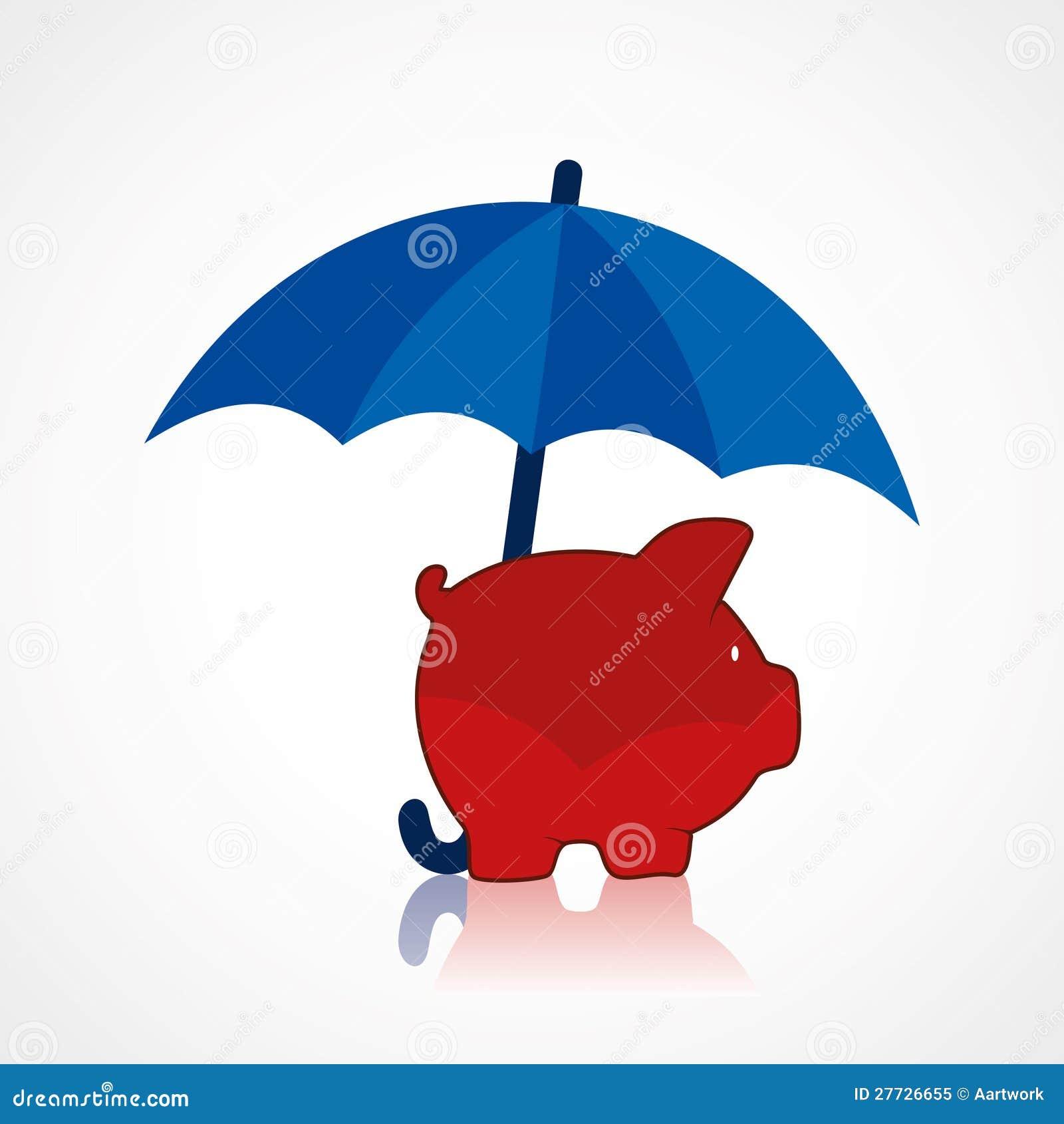 Piggy unter dem Regenschirm