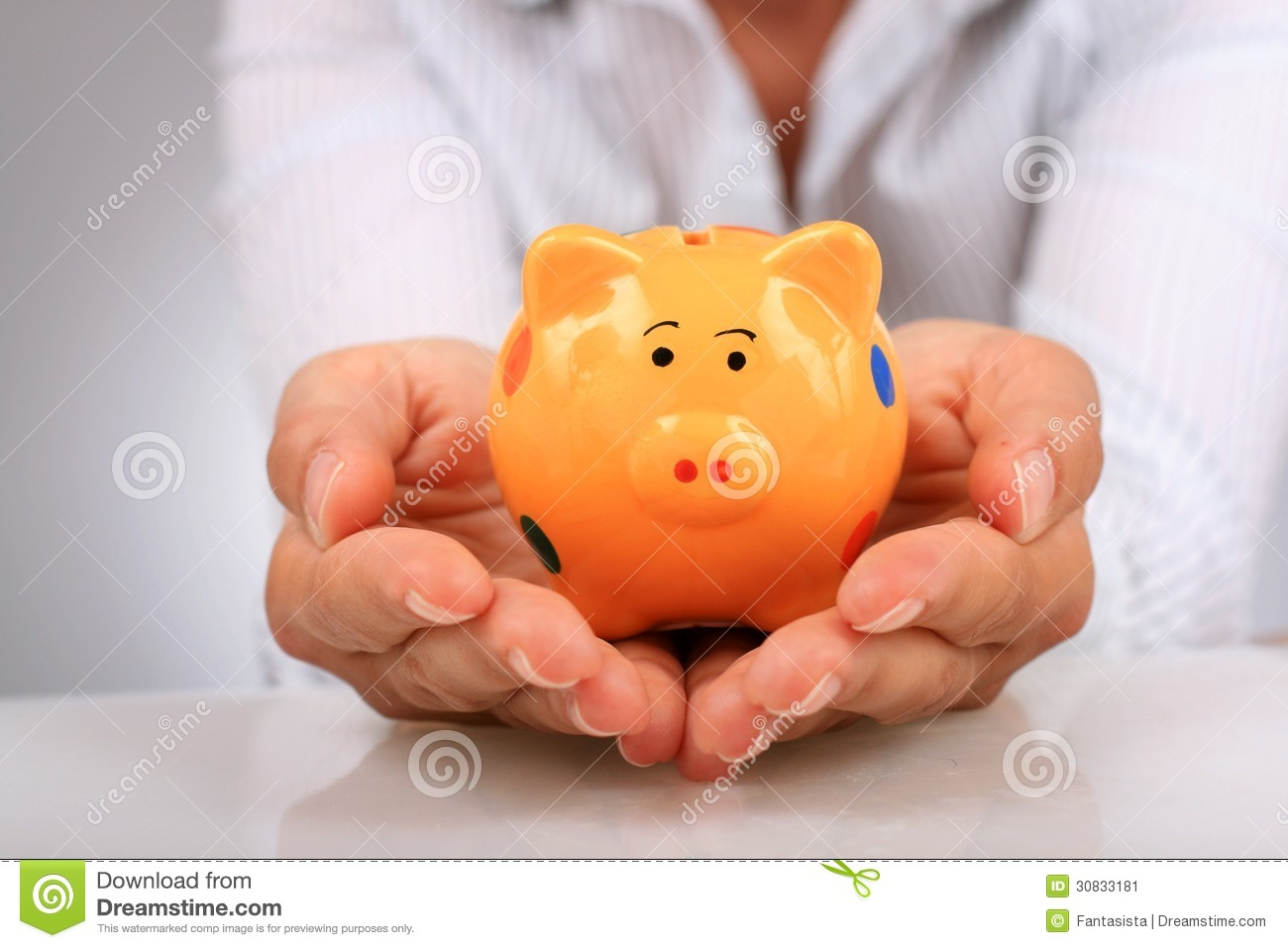 Download Piggybank and hands. stock image. Image of concept, finance - 30833181