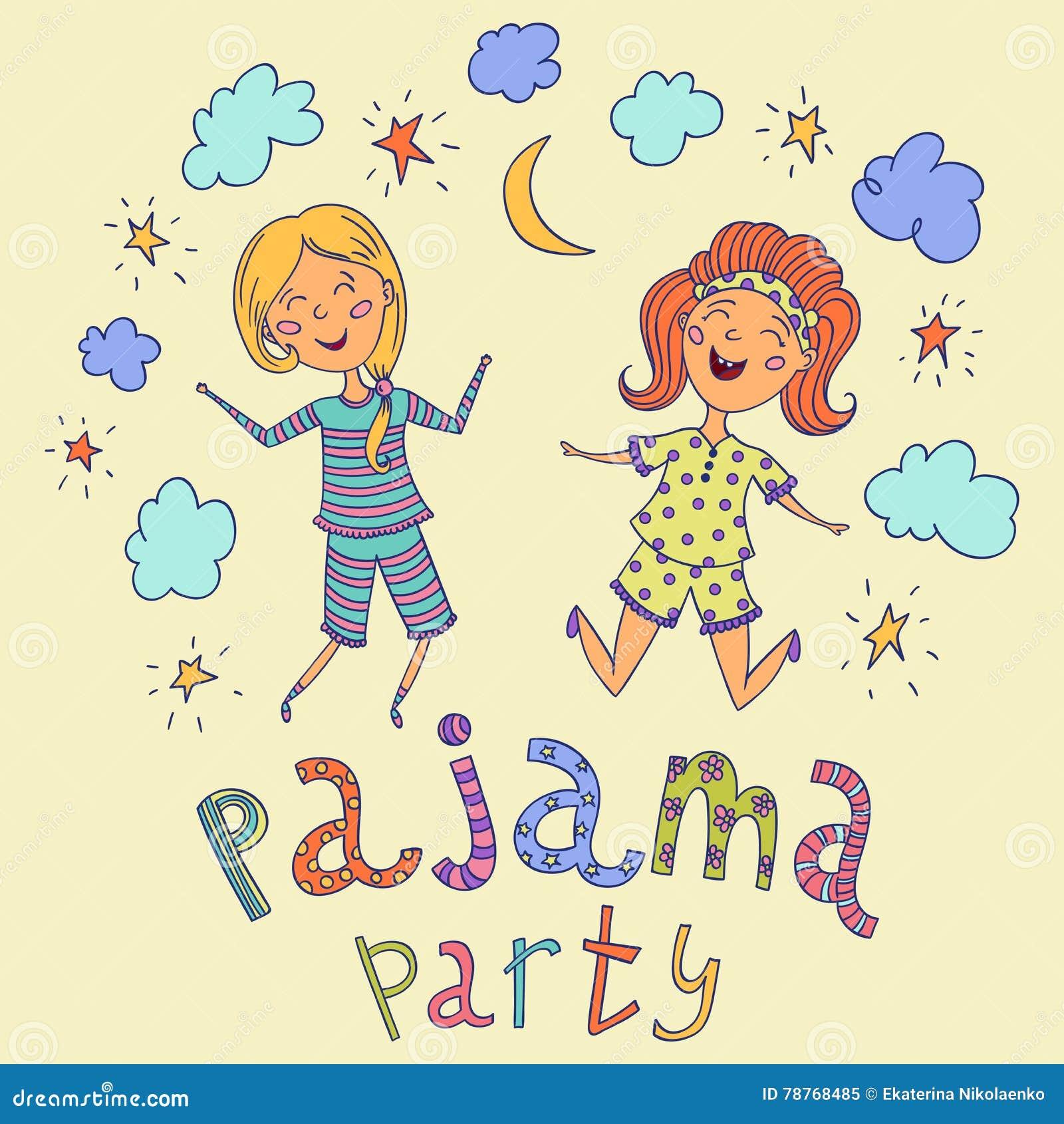 Conosciuto Pigiama Party Bambini Divertenti Ed Iscrizione Disegnata A Mano  AC11