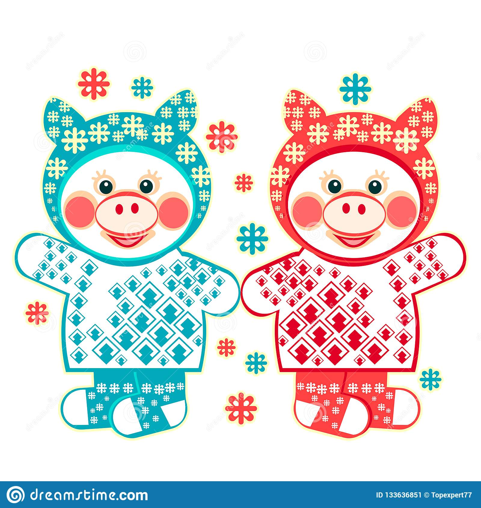 2b4d3d8898f9 Christmas illustration a twins piglets   snowflakes. Image with 2 pigs in winter  clothes
