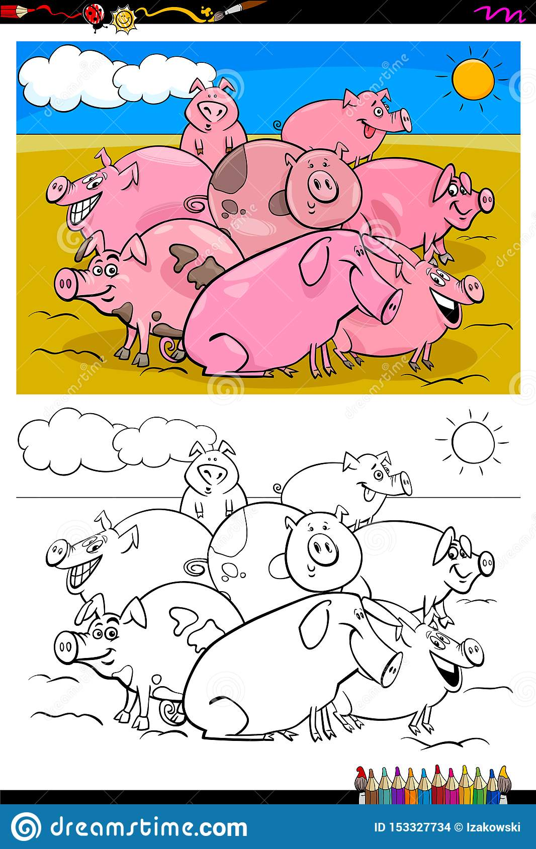 Pigs Farm Animal Characters Group Color Book Stock Vector ...