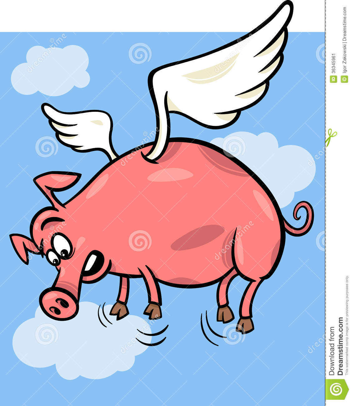 When Pigs Fly Cartoon Illustration Stock Image - Image: 36345961