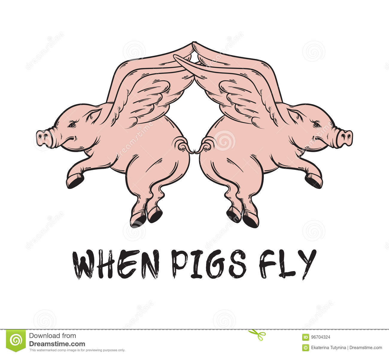 When Pigs Fly Quote Typographical Background Stock Vector