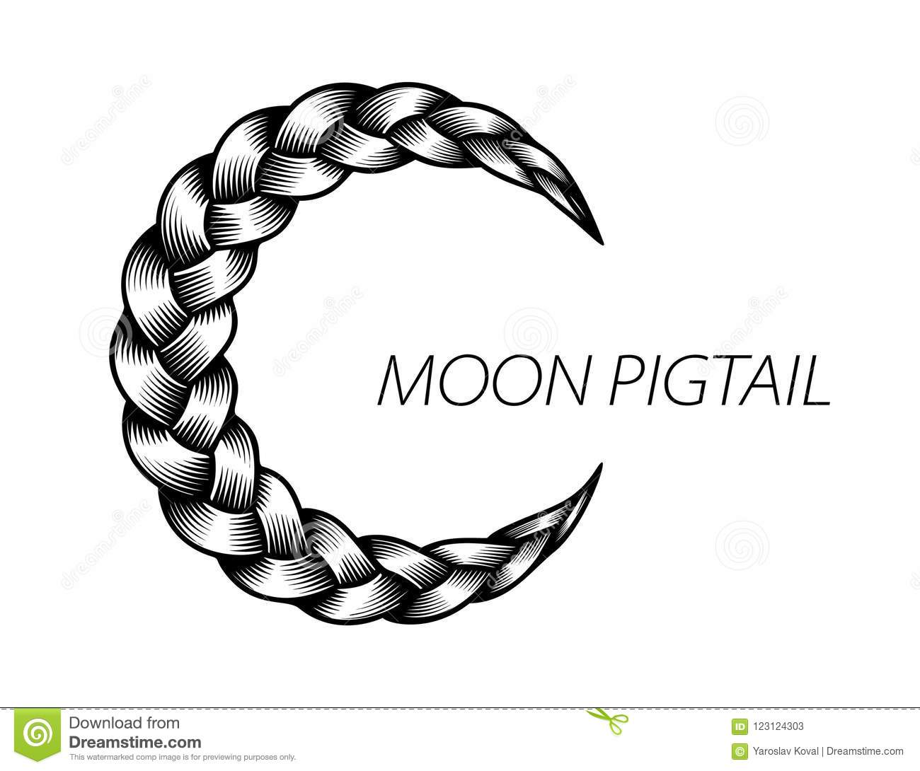 Pigtail Moon Symbol Simple Black Curly Wavy Stock Illustration