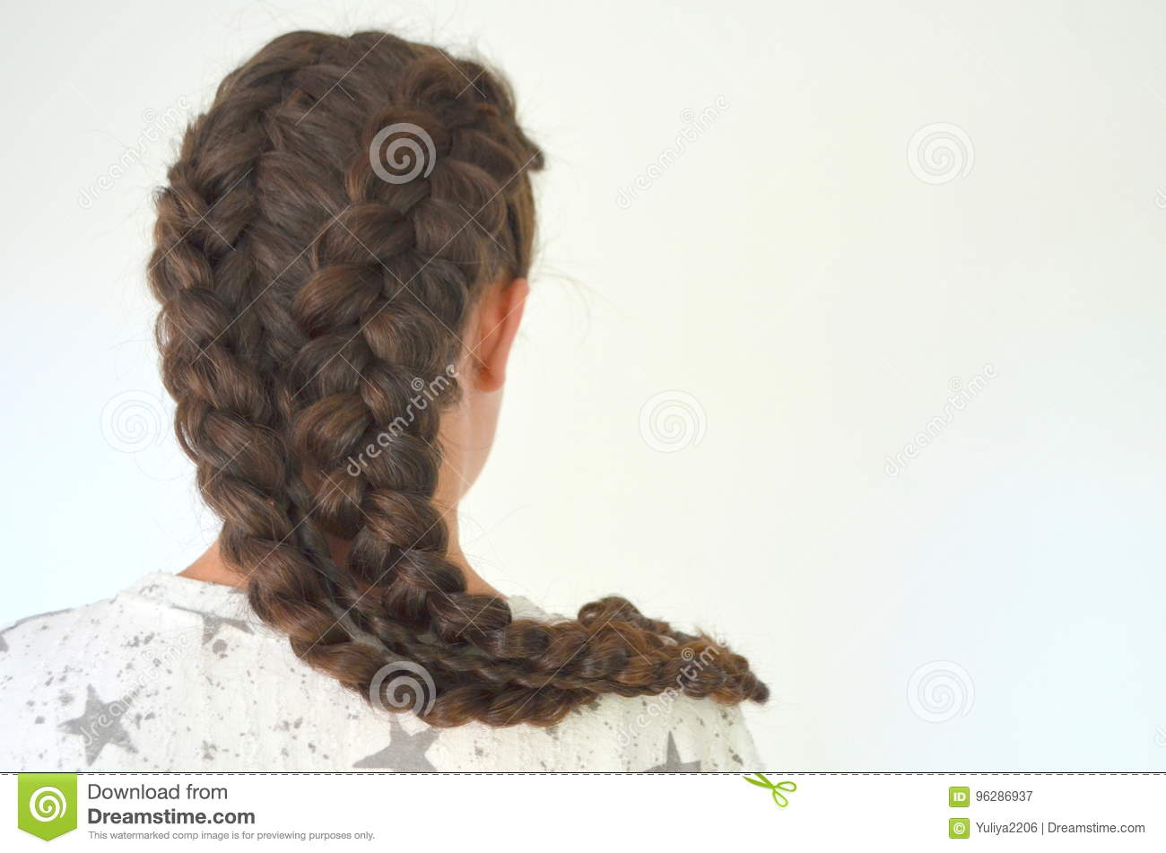 Pigtails French with long hair