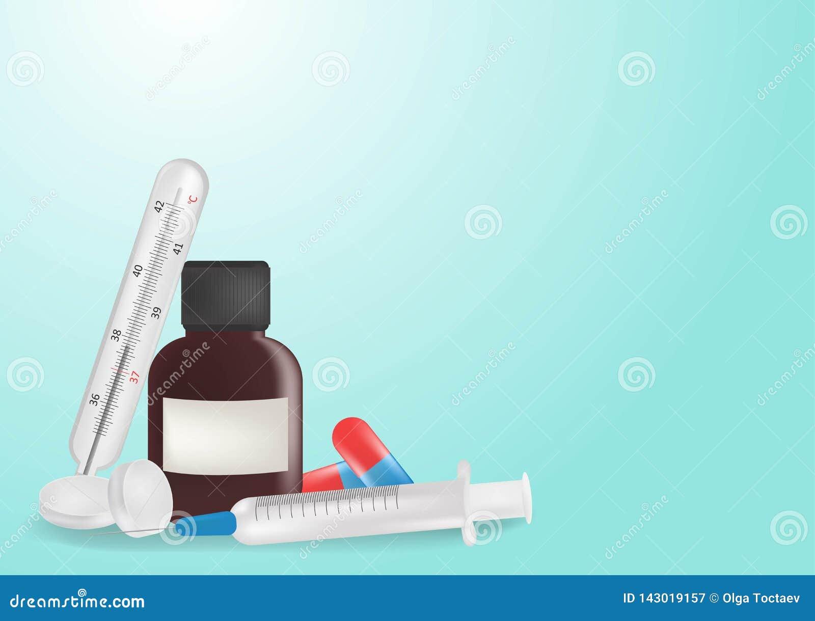 Pigułka, kapsuły, termometr, mikstura, strzykawka, medyczny tynk na błękitnym tle
