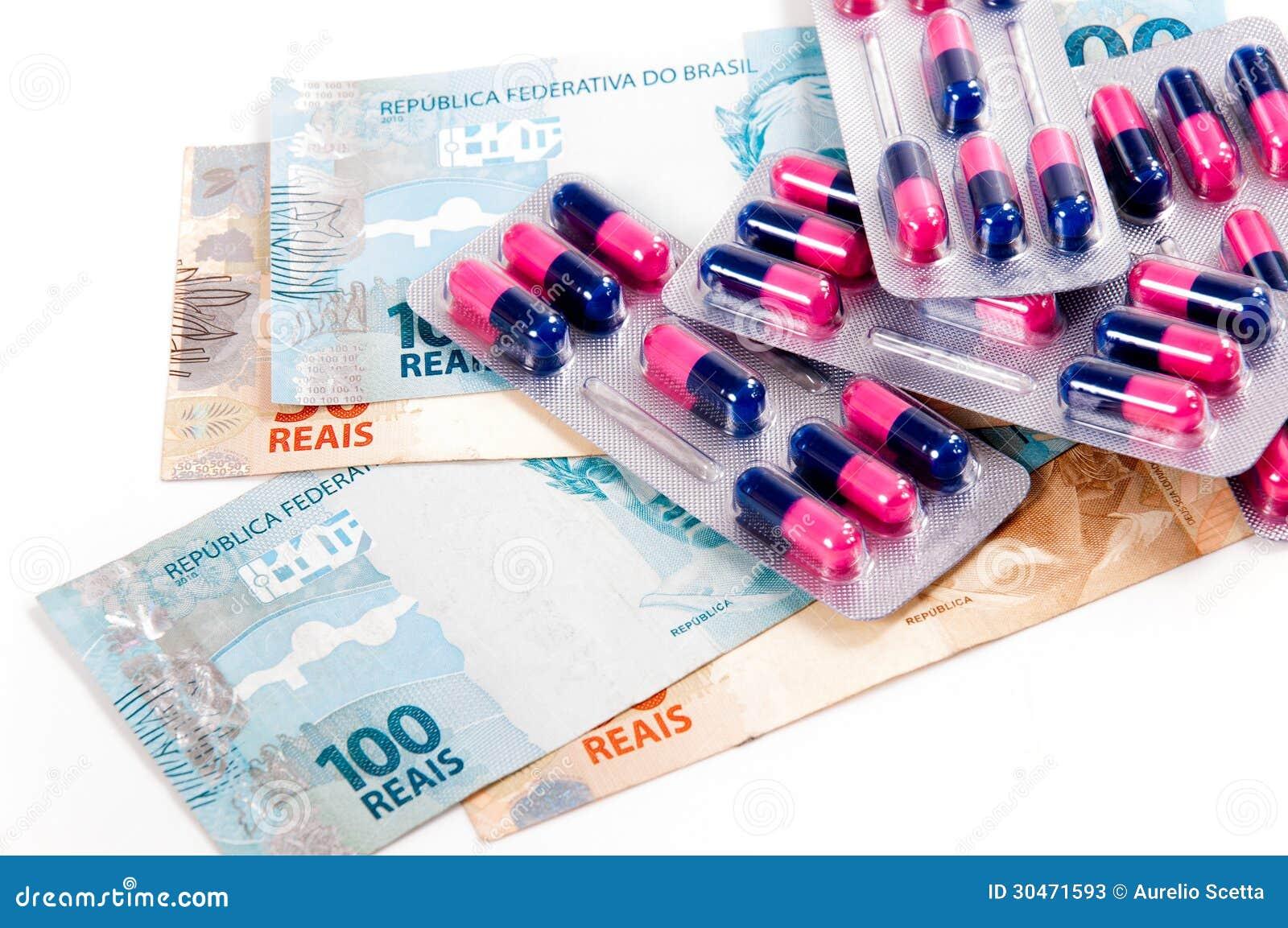 Pigułki, kapsuły i brazylijska waluta,
