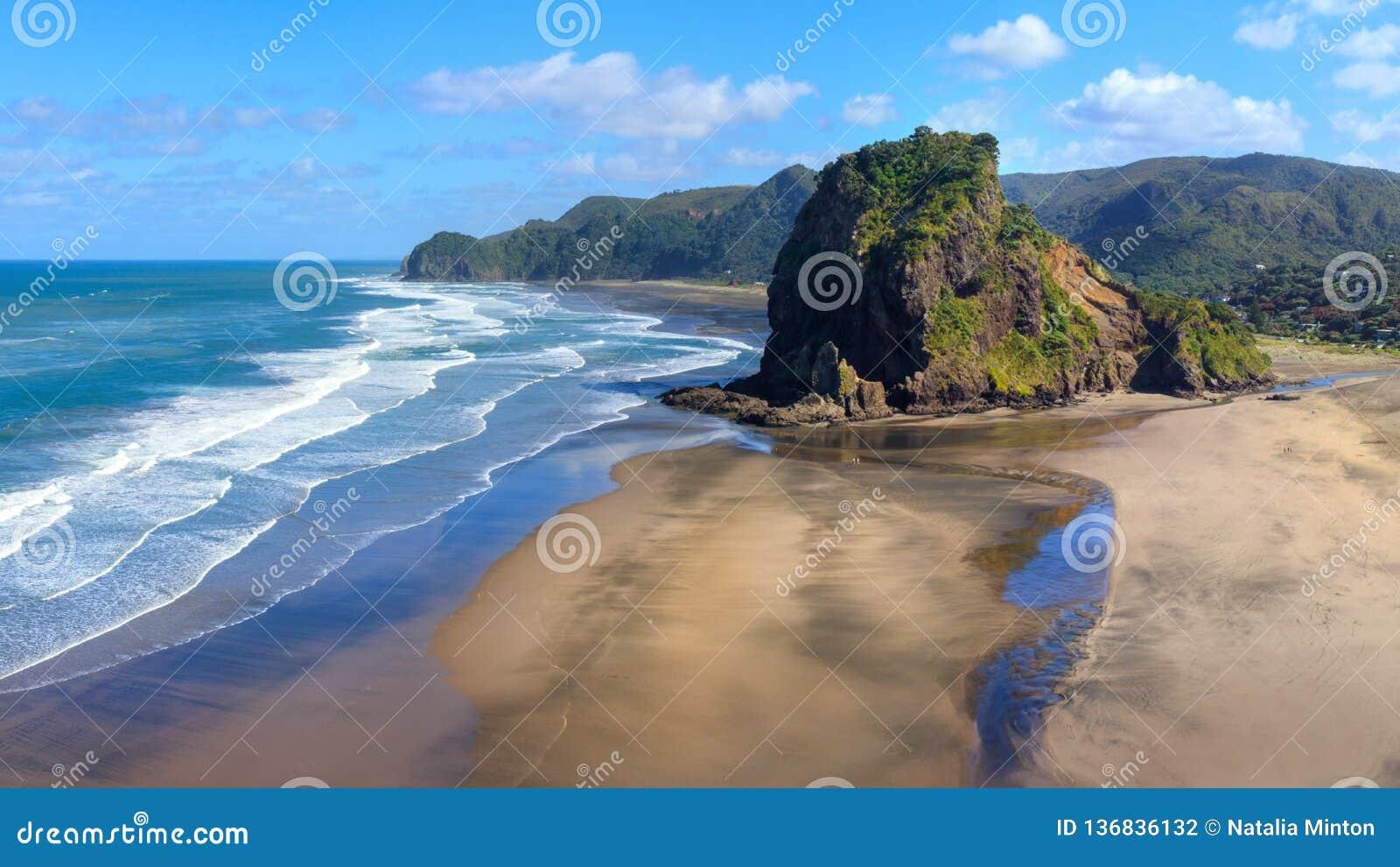 Piha strand och Lion Rock i morgonsolen, Nya Zeeland