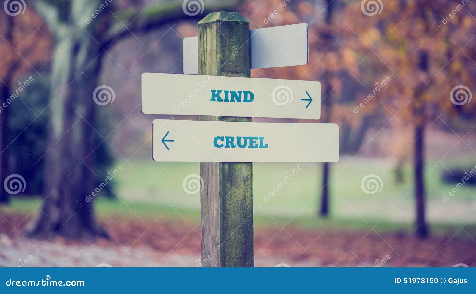 Pijlen die twee tegenovergestelde richtingen naar Vriendelijk richten en Wreed