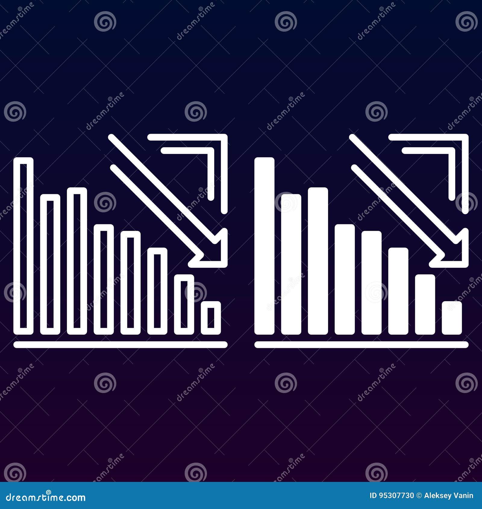 Pijlgrafiek onderaan lijn en stevig pictogram gaan, overzicht en gevuld vectorteken, lineair en volledig die pictogram die op wit