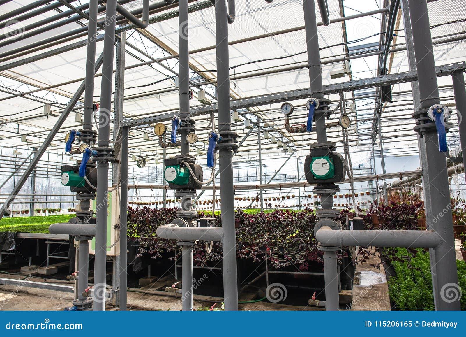 Pijpen van automatisch irrigatie of het water geven systeem in moderne hydroponic serre, het industriële cultiveren en het groeie