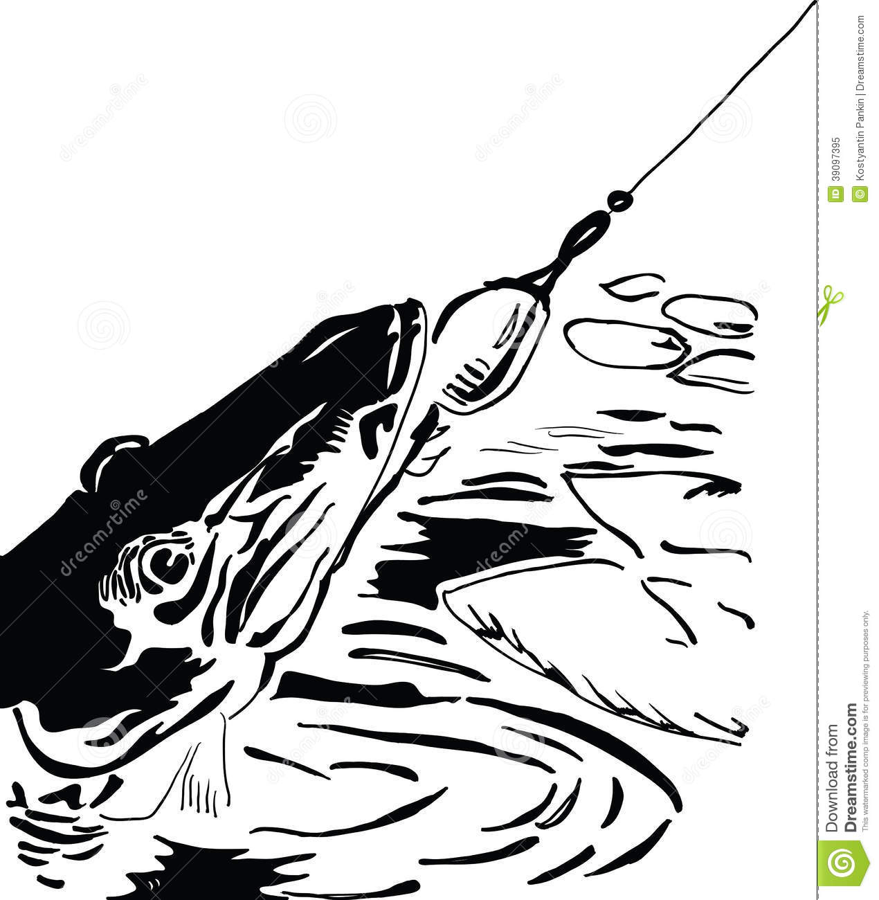 Pike fishing lure stock vector. Image of clip, black ...