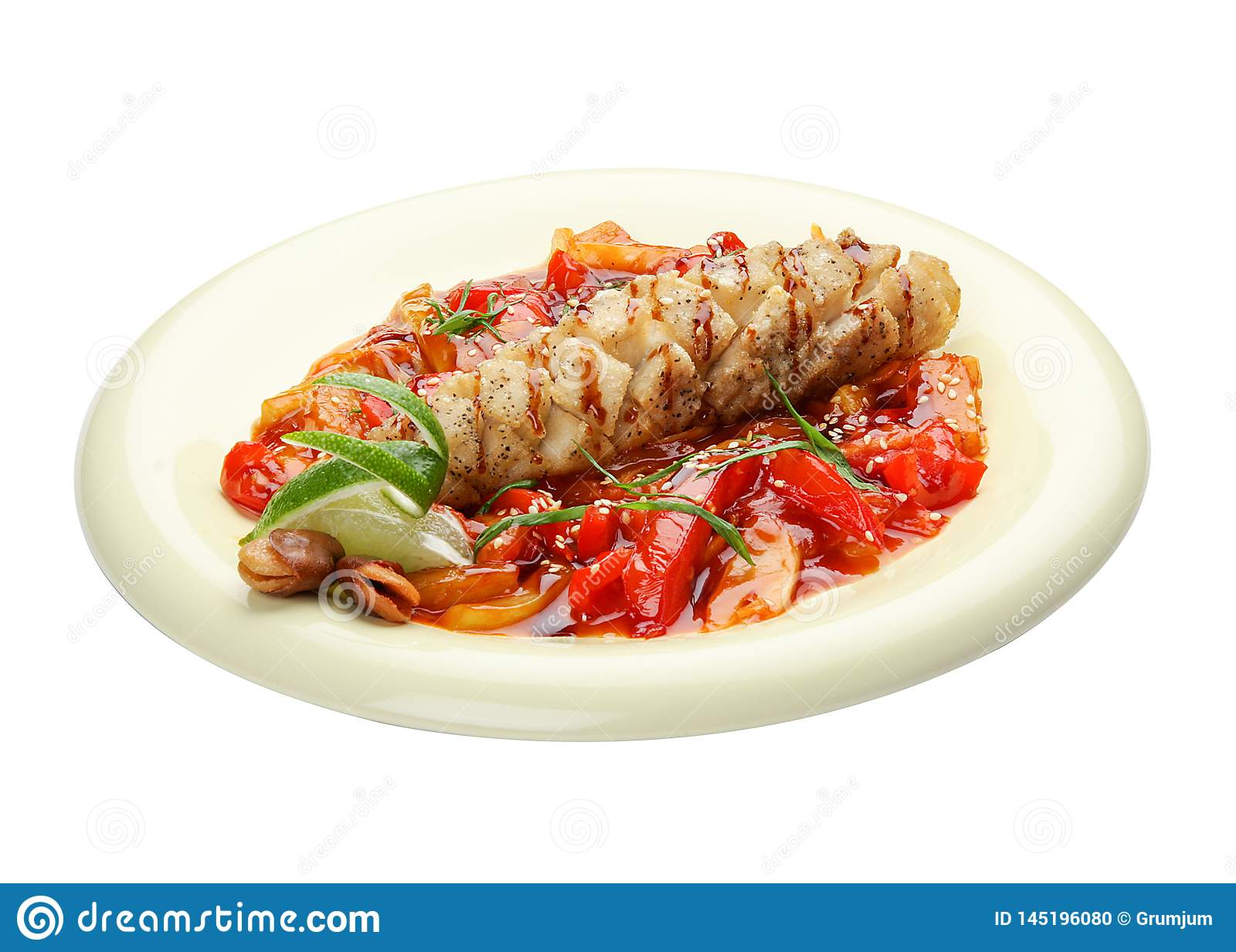 Pike perch with vegetables in sweet and sour sauce. Asian cuisine