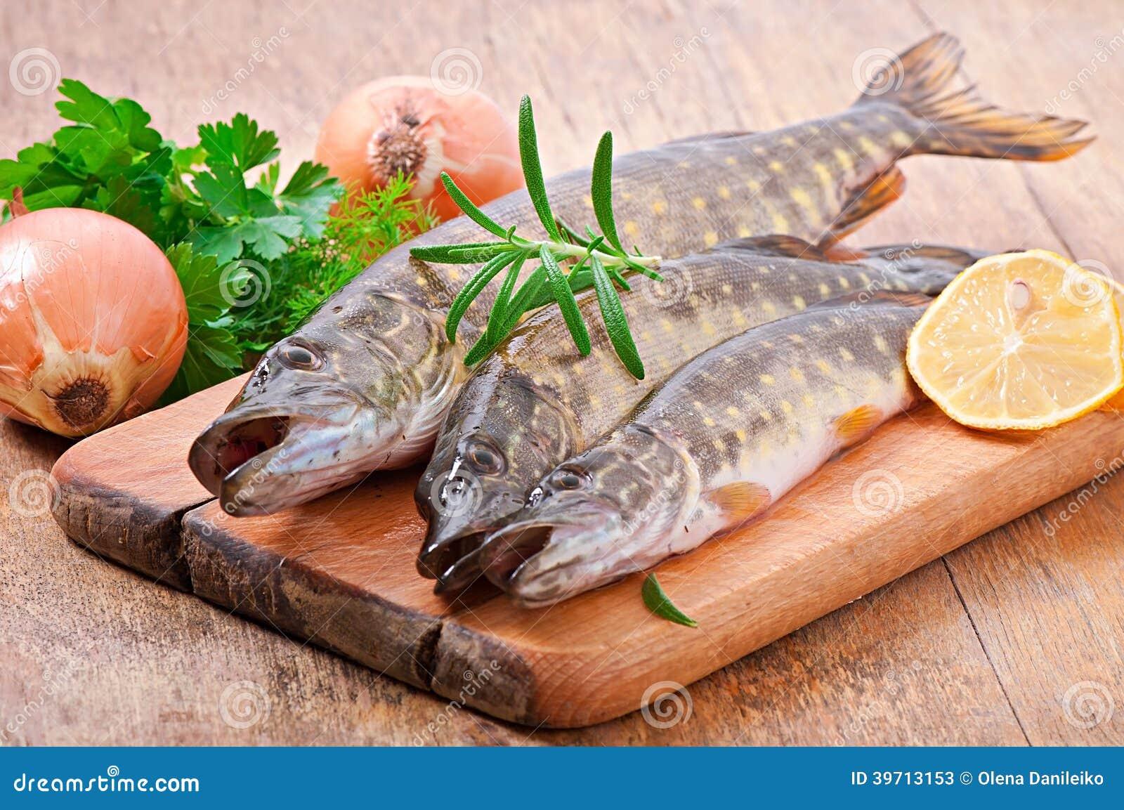 Pike raw fish