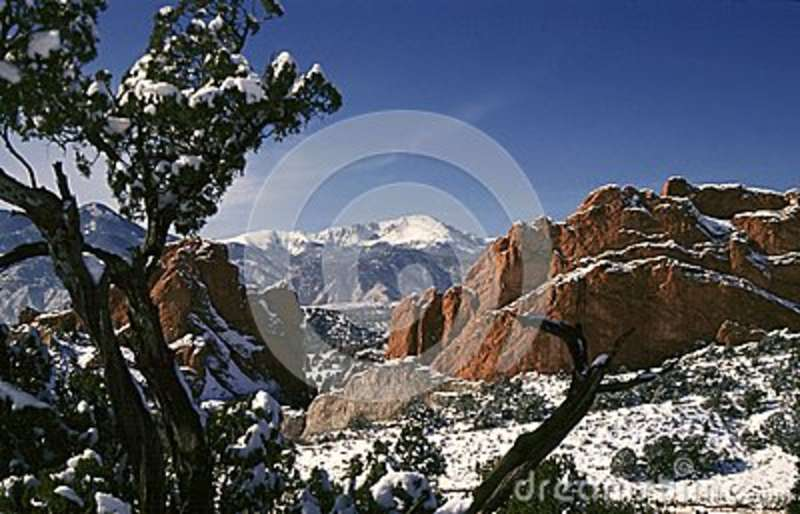Pikes Peak And Garden Of The Gods Stock Image , Image of