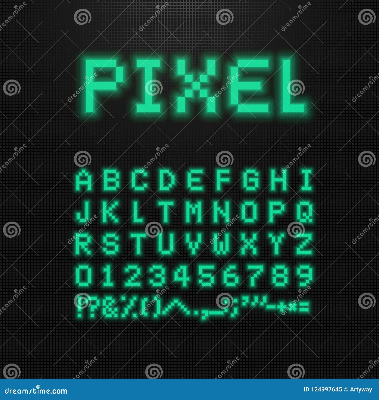 Piksel chrzcielnica, wektor pisze list, liczby i znaki na stary komputer prowadzącym pokazie 8 kawałków wideo gry typeface Retro