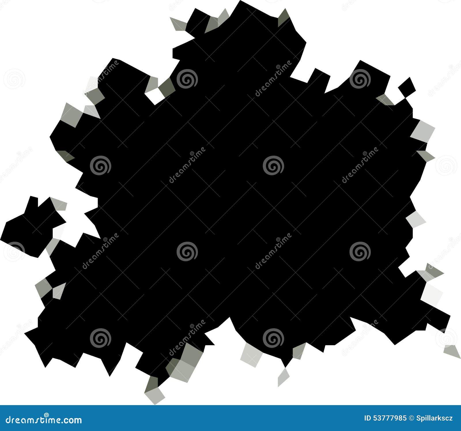 Piksel czarnej dziury kształt w biel powierzchni