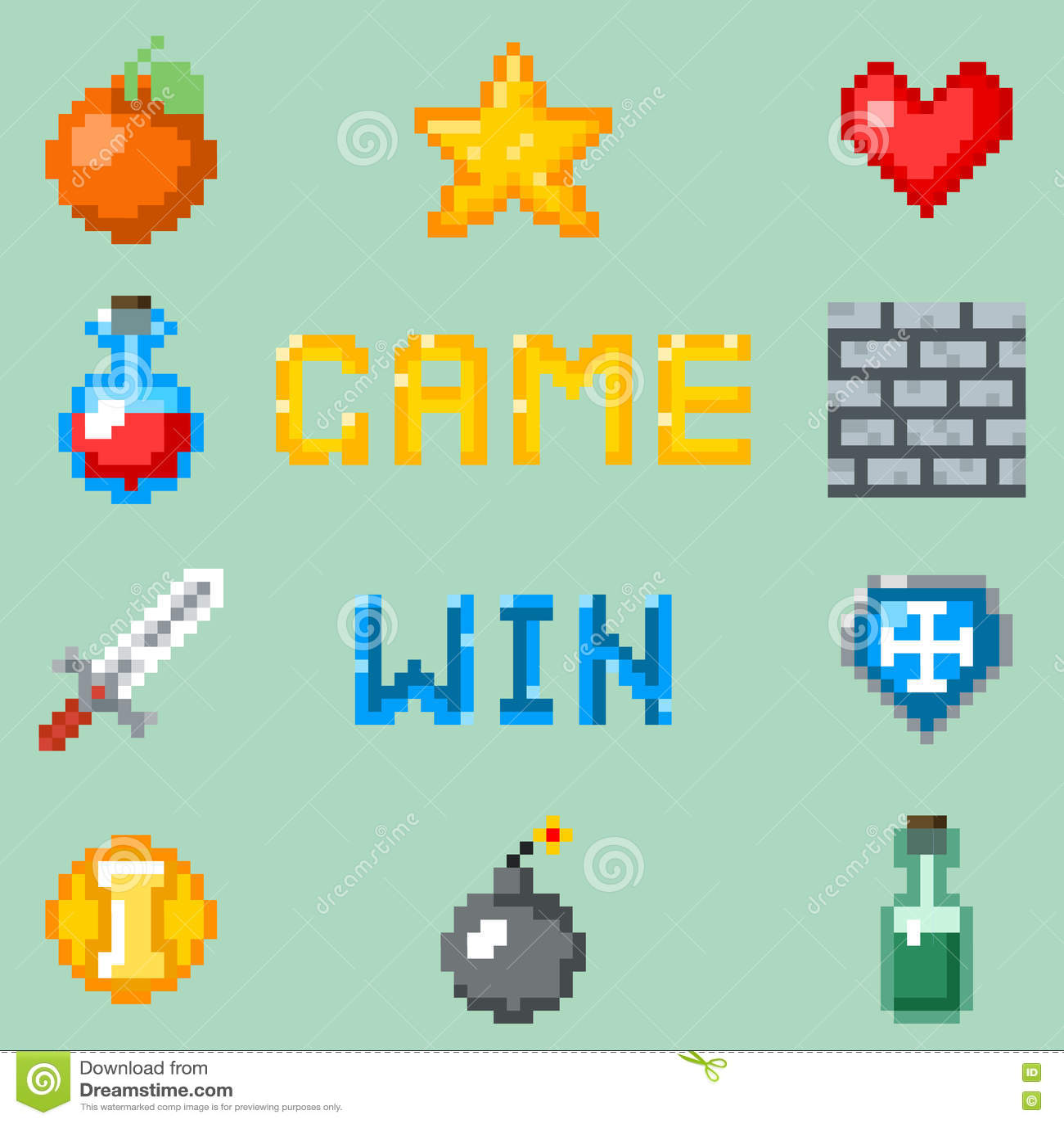 Piksel gier ikony dla sieci, app lub wideo gry interfejsu,