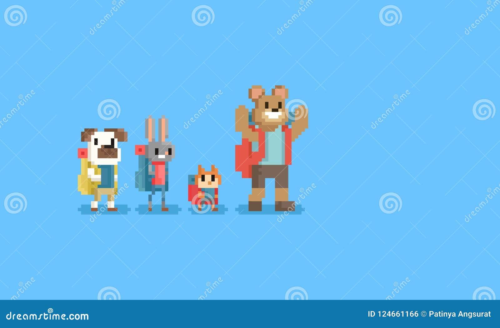Piksel grupa turystyczny zwierzęcy charakter 8bit