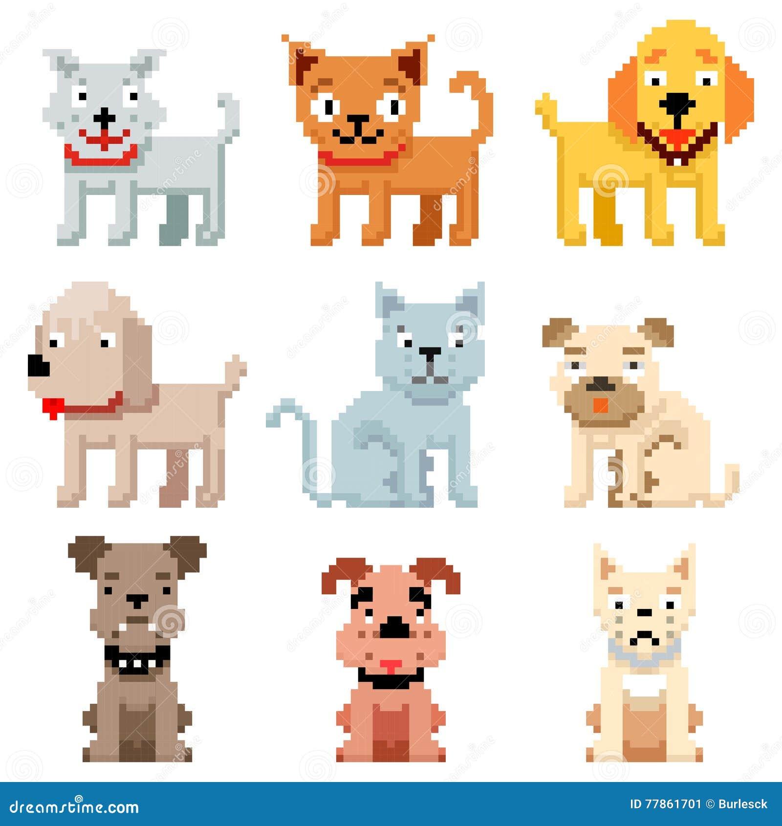 Piksel sztuka migdali ikony 8 kawałków pies i kot wektorowych