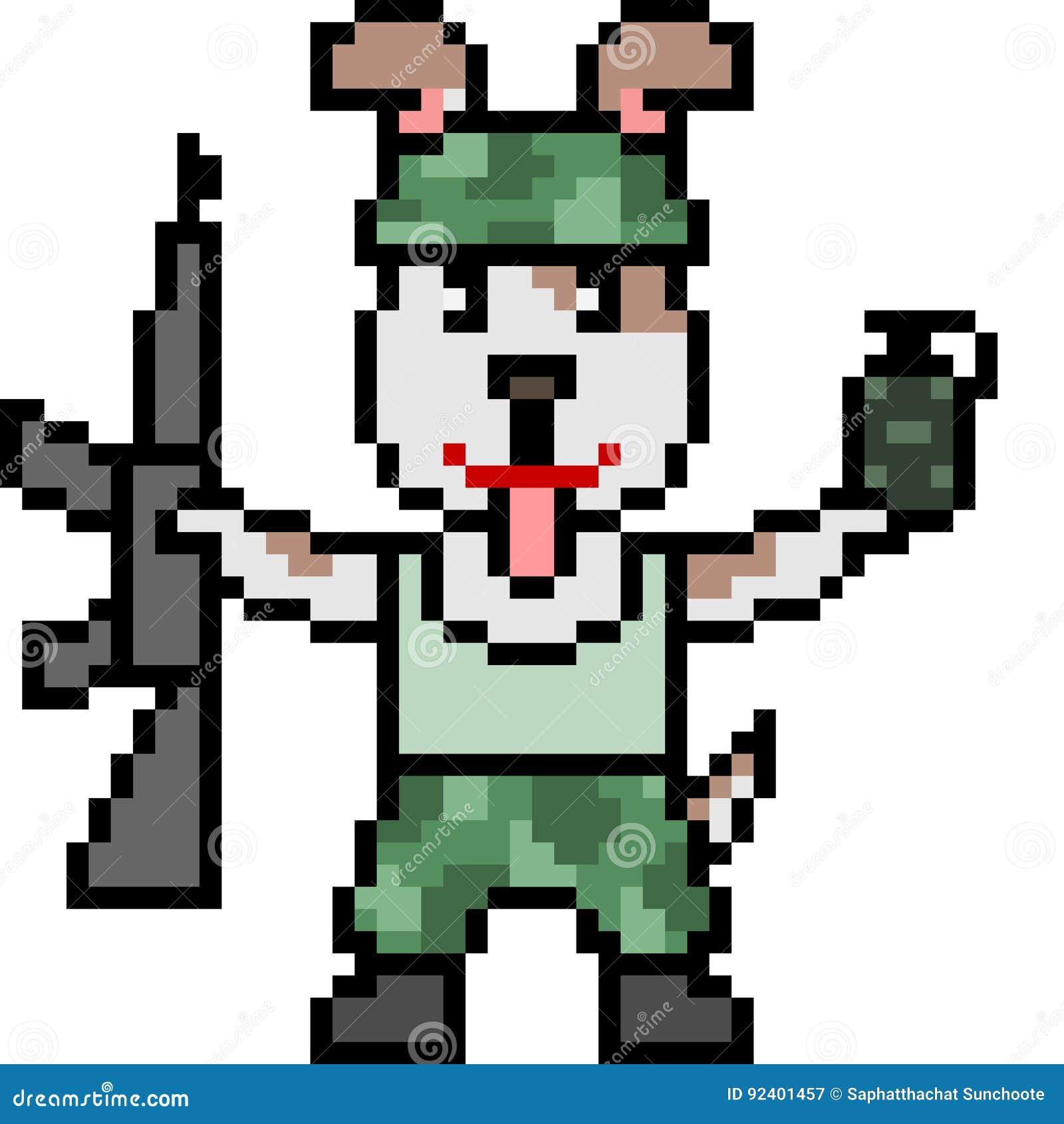 Piksel Sztuki żołnierza Pies Ilustracji Ilustracja