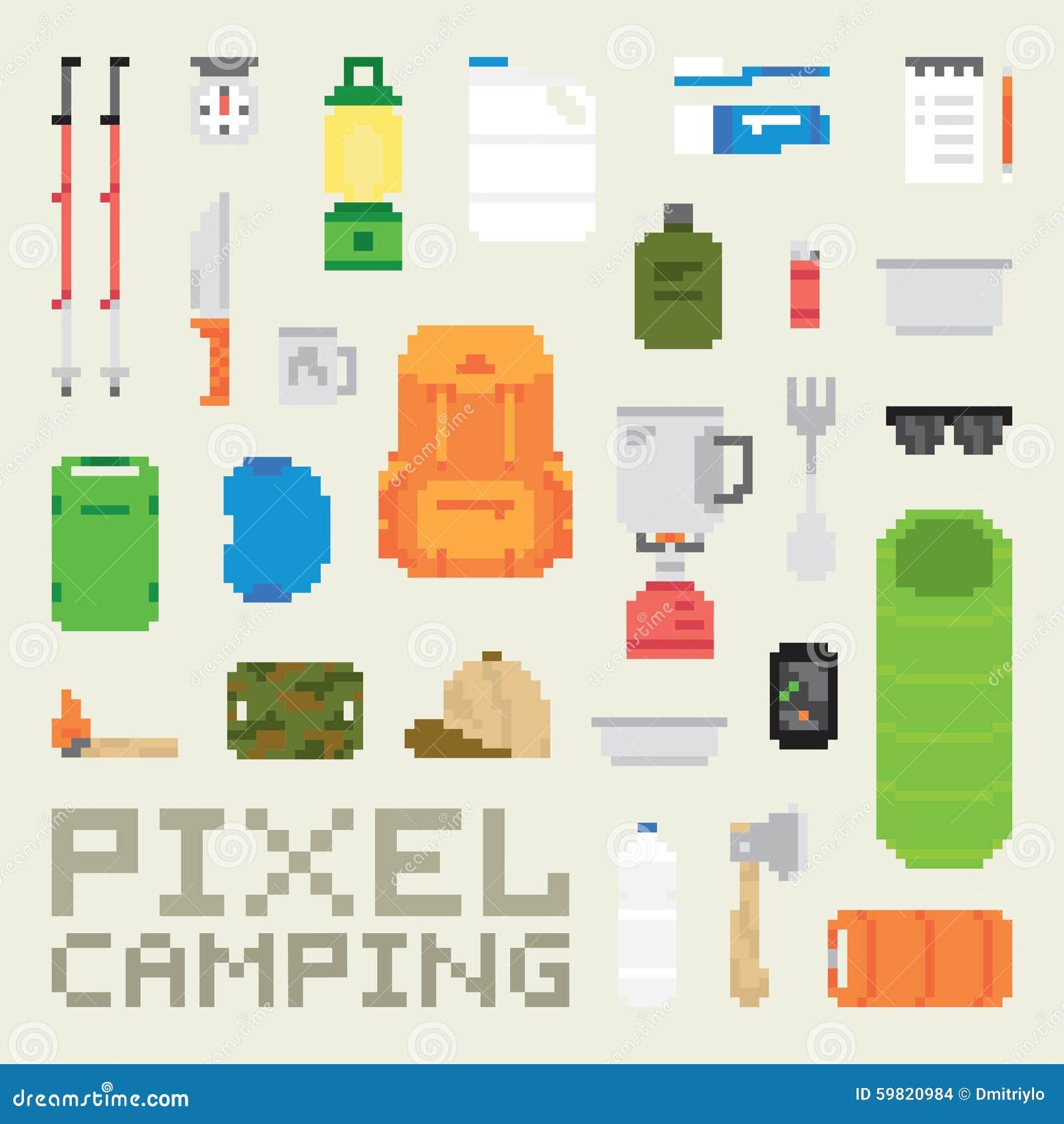 Piksel sztuki campingowych towarów wektoru przedmioty