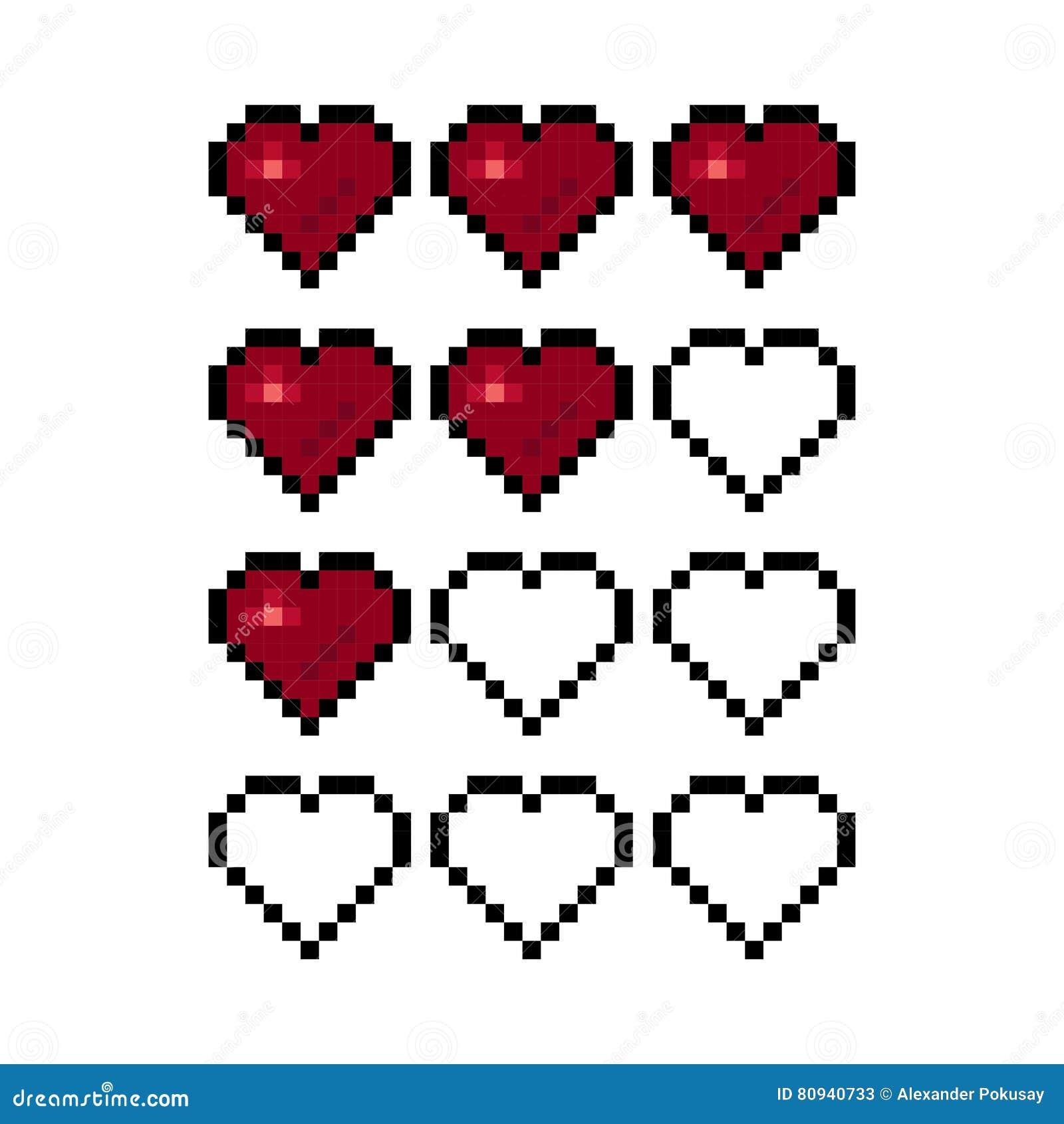 Piksel sztuki serce dla gemowej wektorowej ilustraci