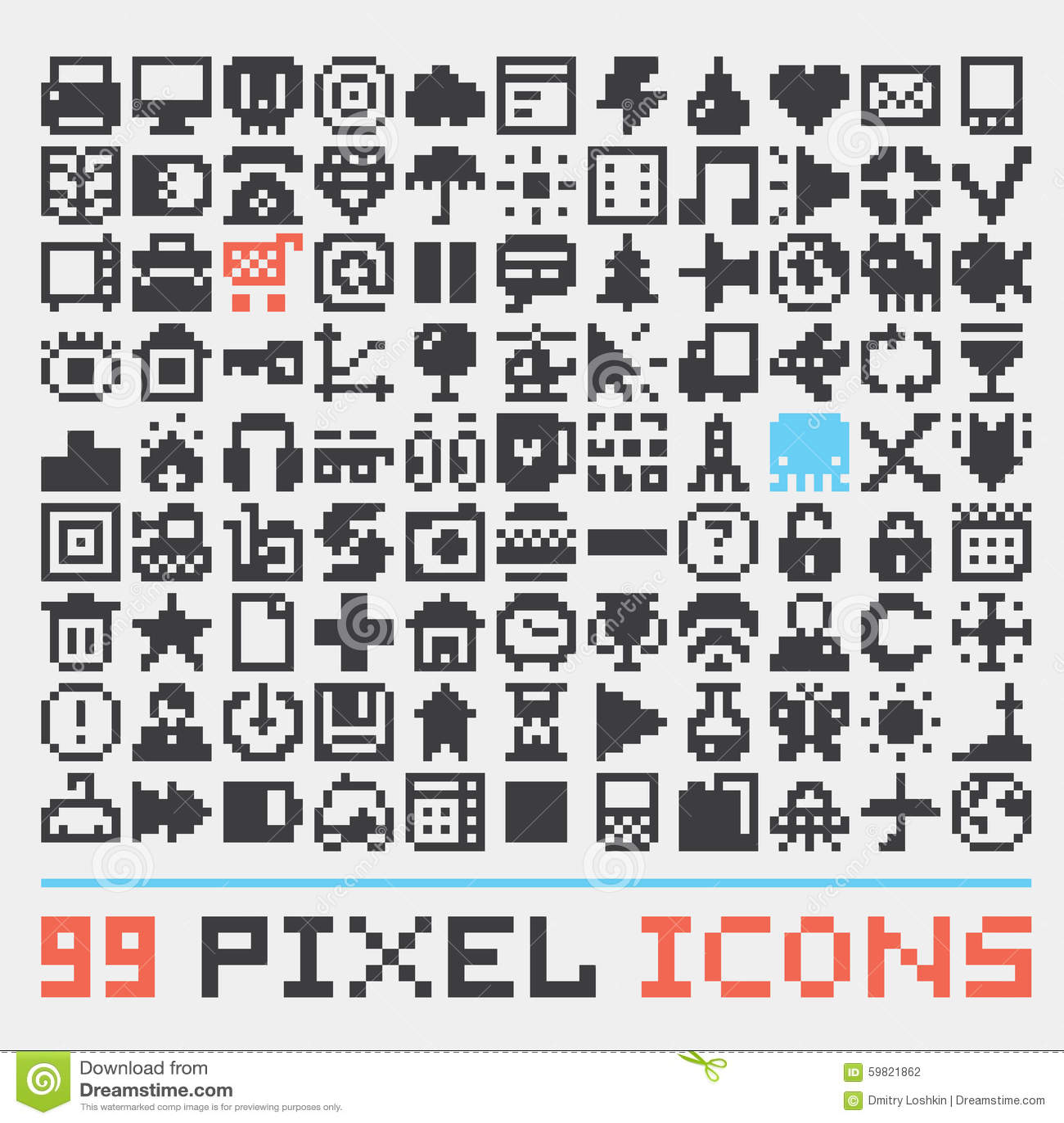 Piksel sztuki sieci ikon wektoru set