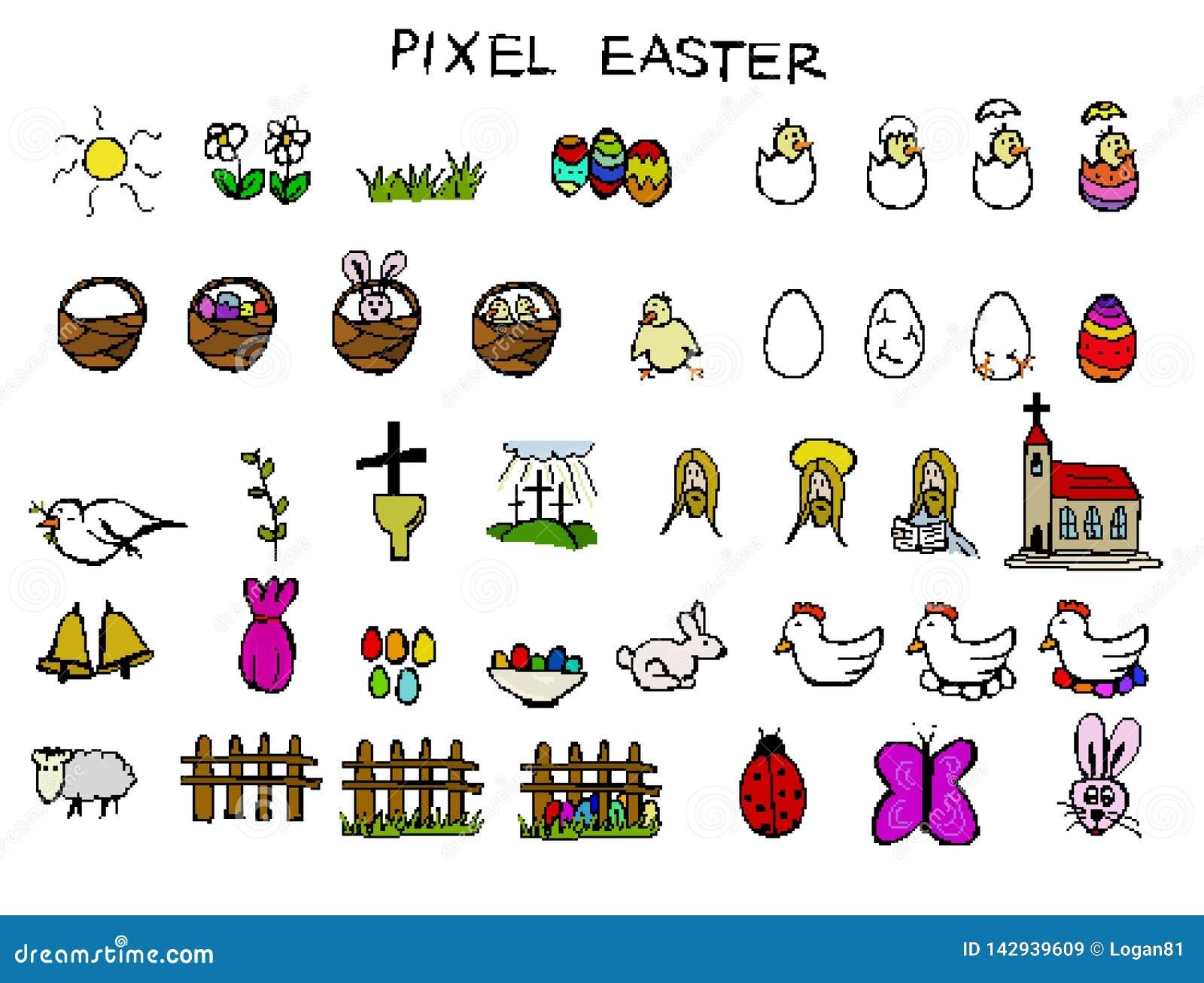 Piksel wielkanocy ikony