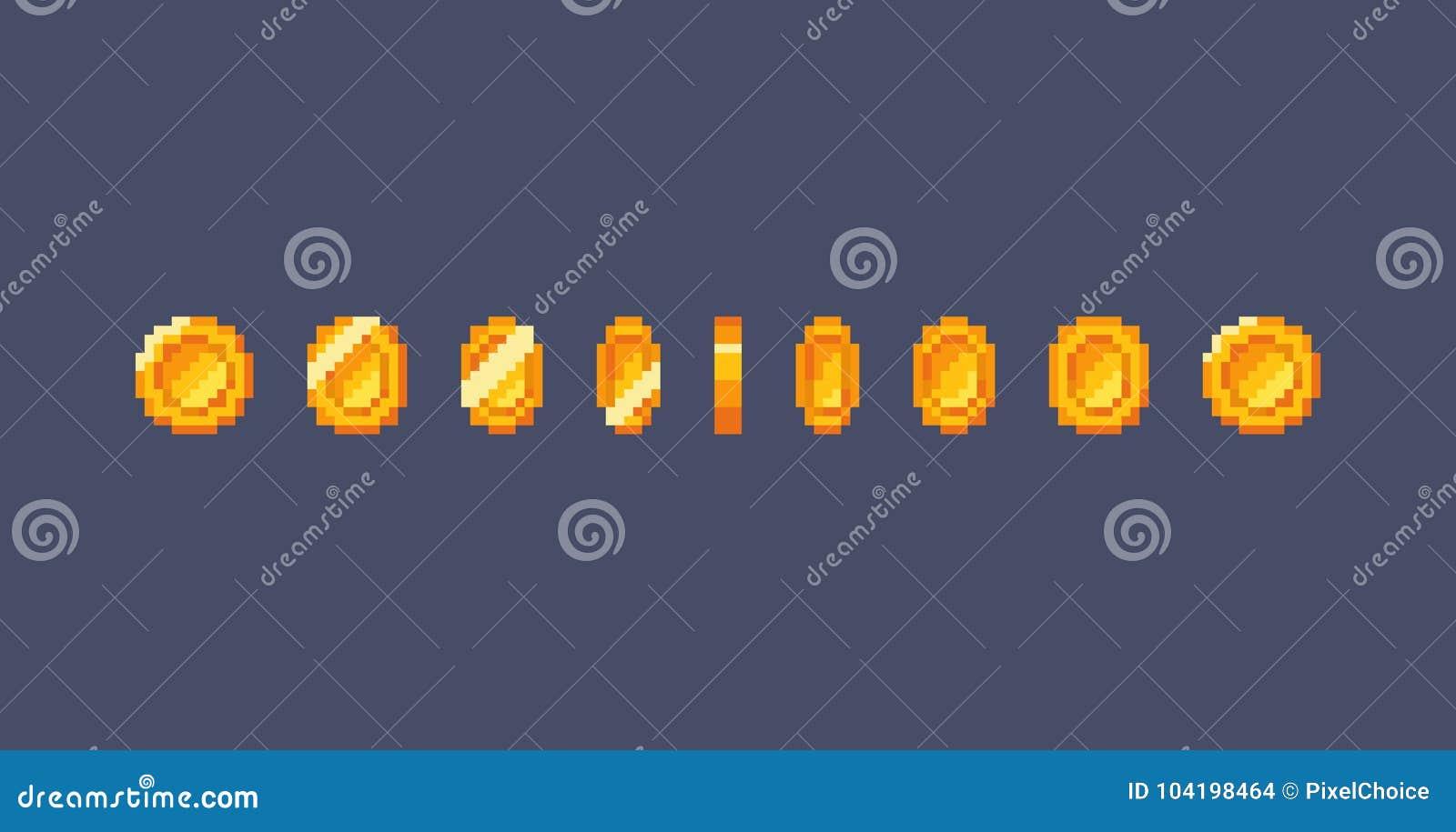 Piksel złocistej monety animacja