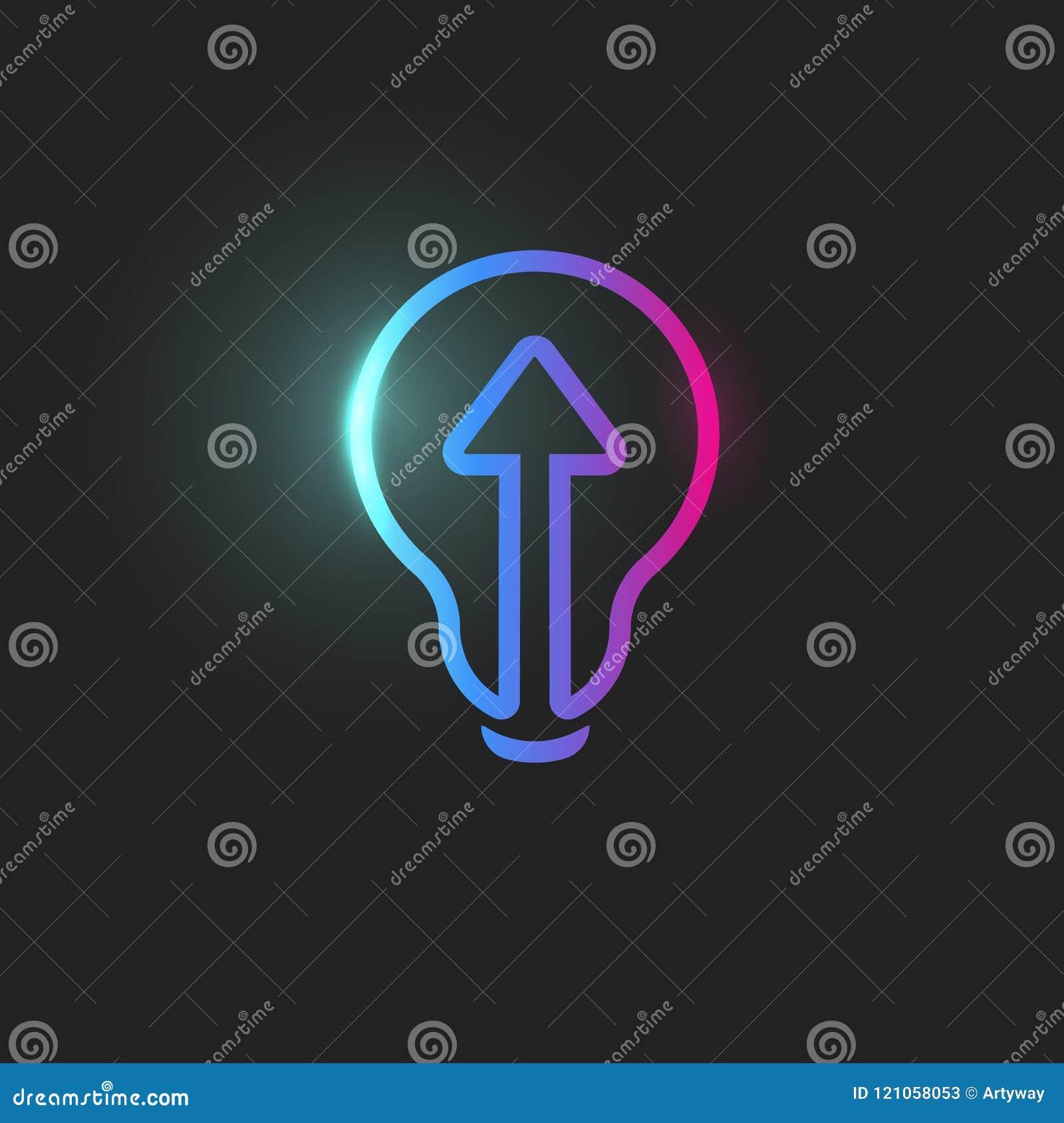 Pil directioion för raksträcka framåt, symbol för ljus kula, abstrakt lightbulb, rengöringsduksymbol, linjär innovation, idélogom